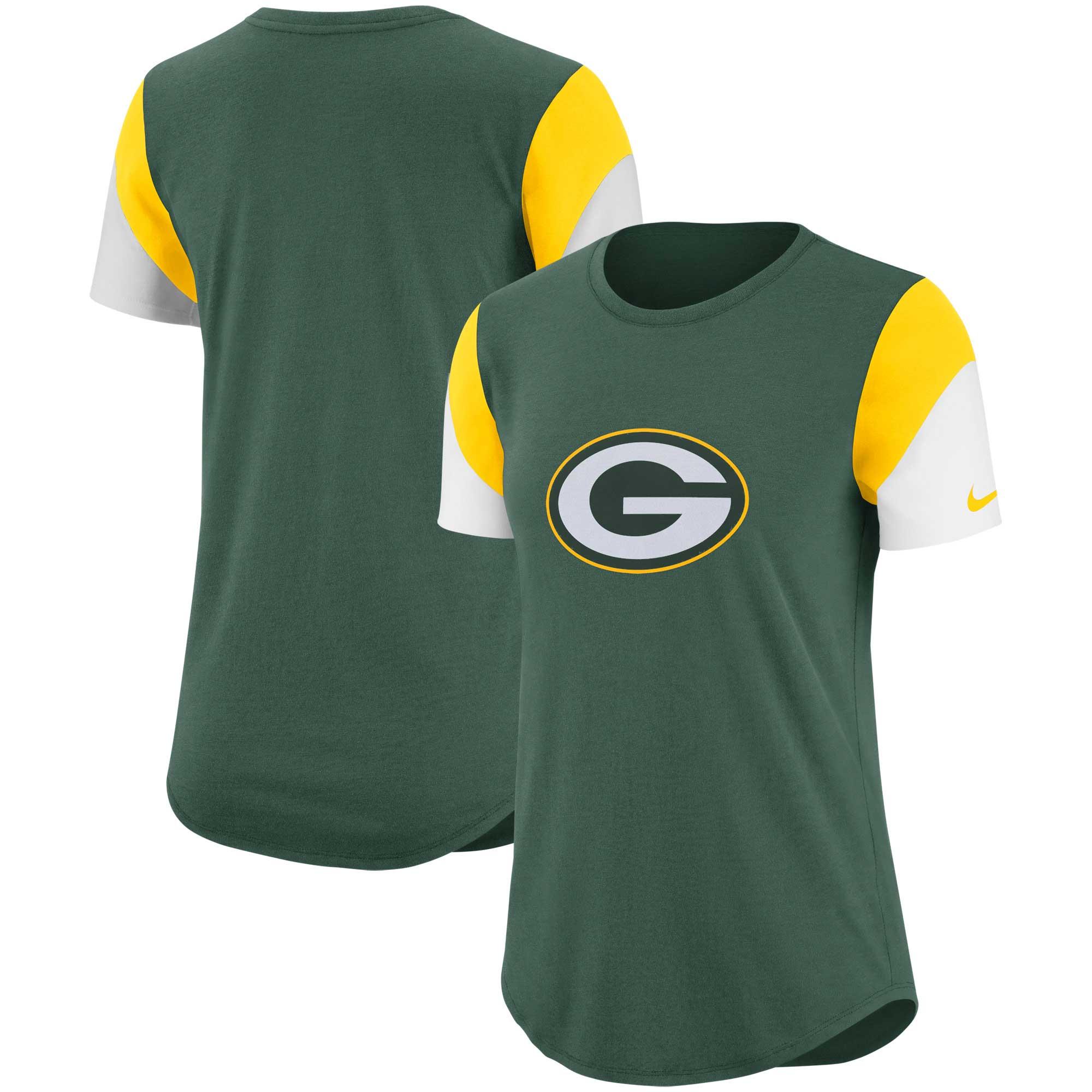 Green Bay Packers Nike Women's Tri-Blend Team Fan T-Shirt - Green/Gold