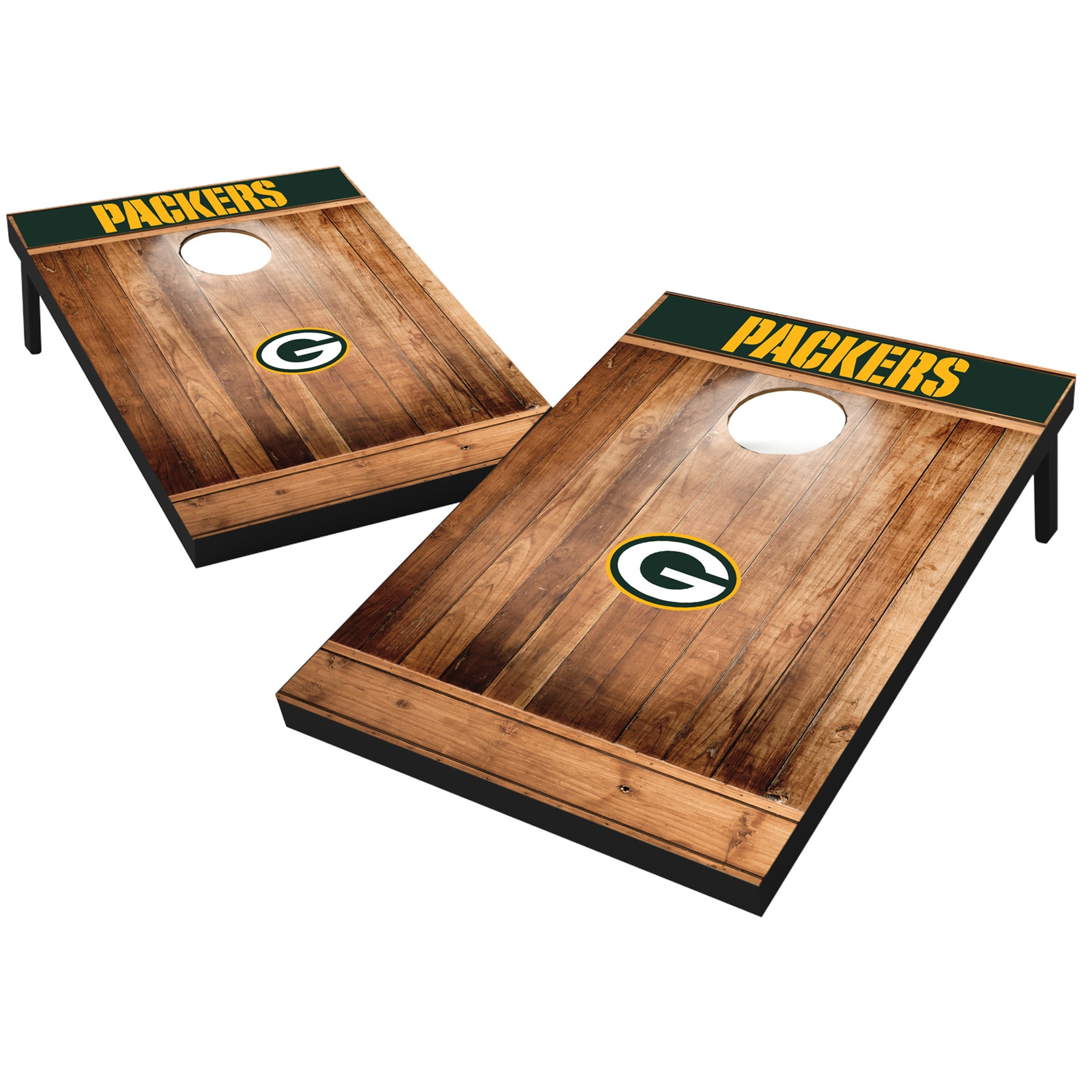 Green Bay Packers 2' x 3' Wood Design Cornhole Board Tailgate Toss Set