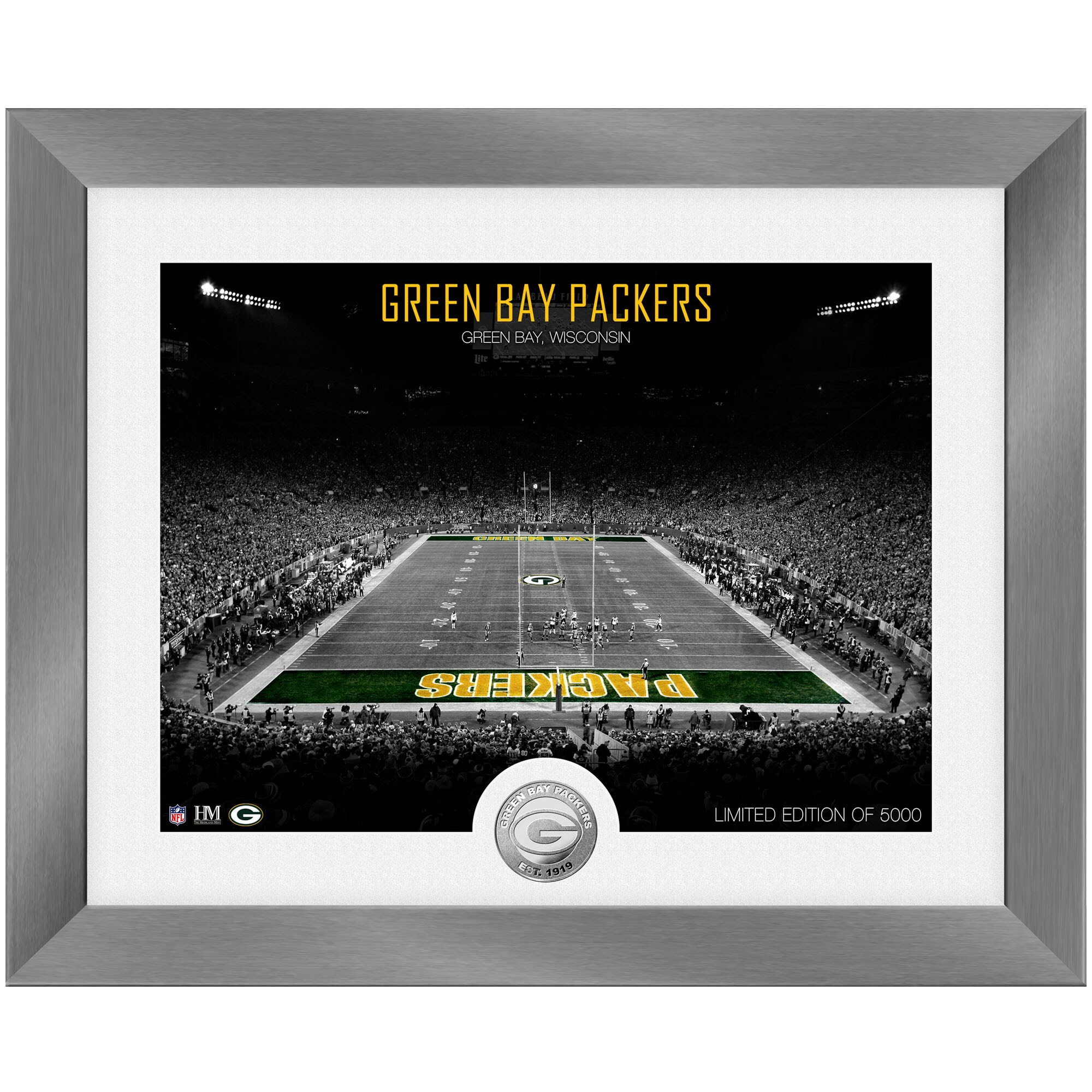 Green Bay Packers Highland Mint 13'' x 16'' Art Deco Stadium Silver Coin Photo Mint