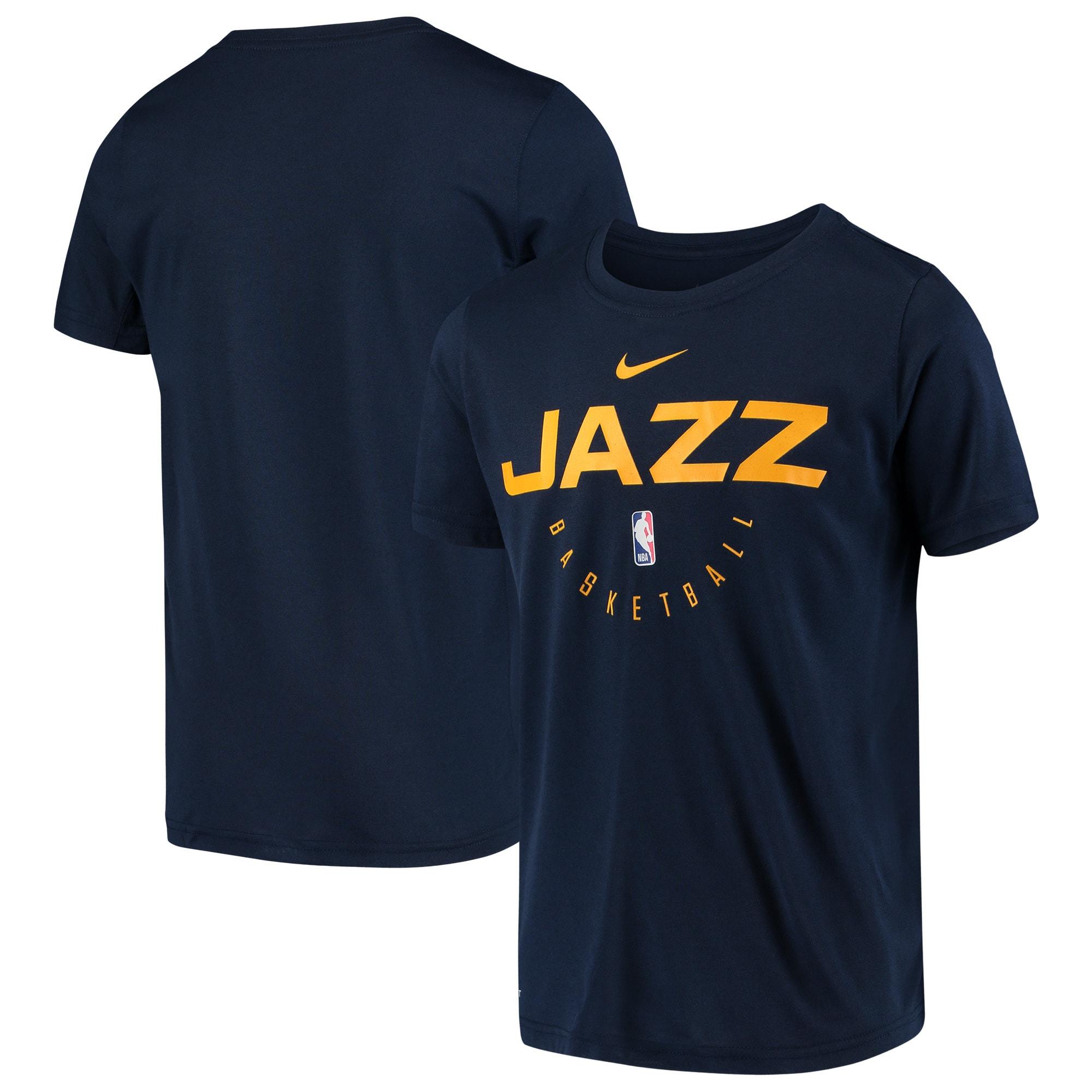 Utah Jazz Nike Youth Practice Logo Legend Performance T-Shirt - Navy