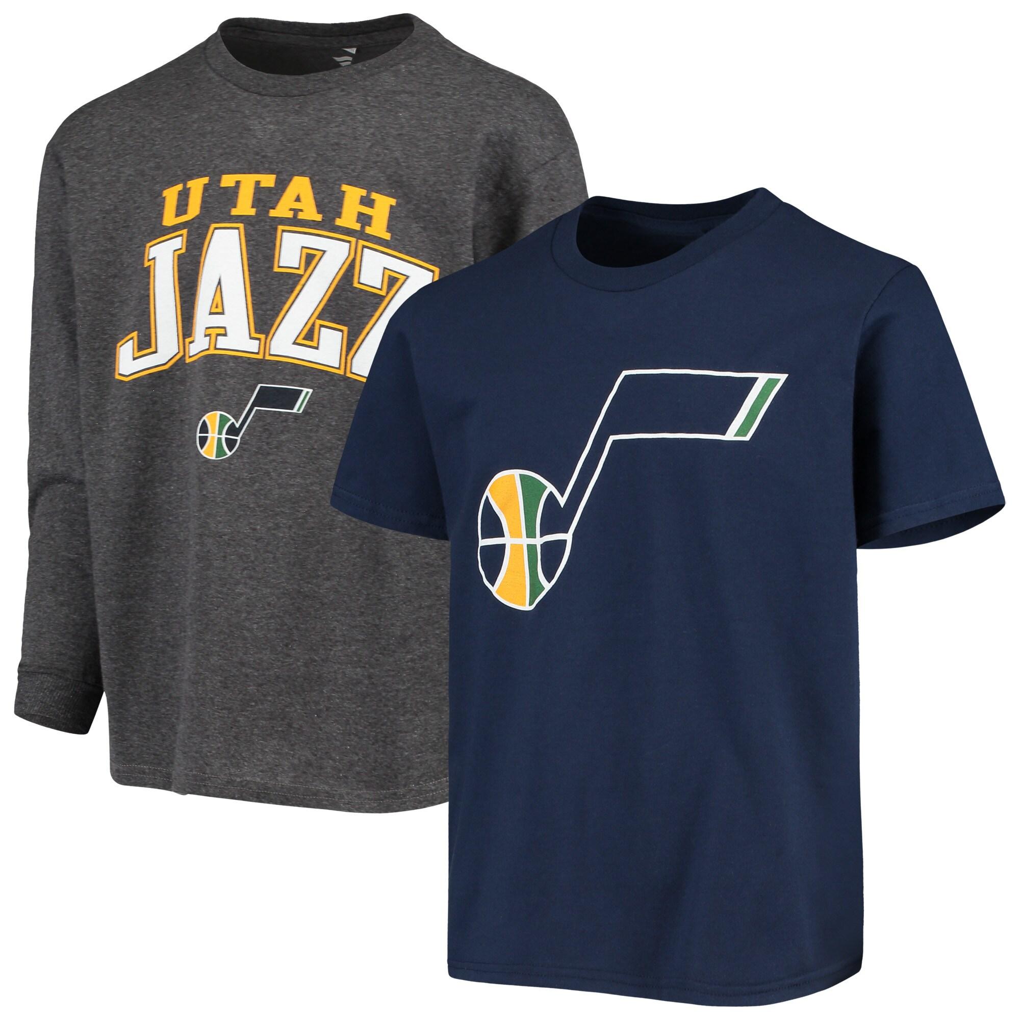 Utah Jazz Fanatics Branded Youth Square T-Shirt Combo Set - Navy/Gray