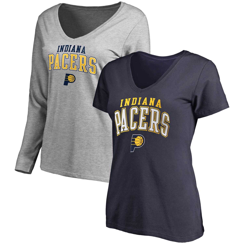 Indiana Pacers Fanatics Branded Women's Square V-Neck T-Shirt Combo Set - Navy/Gray