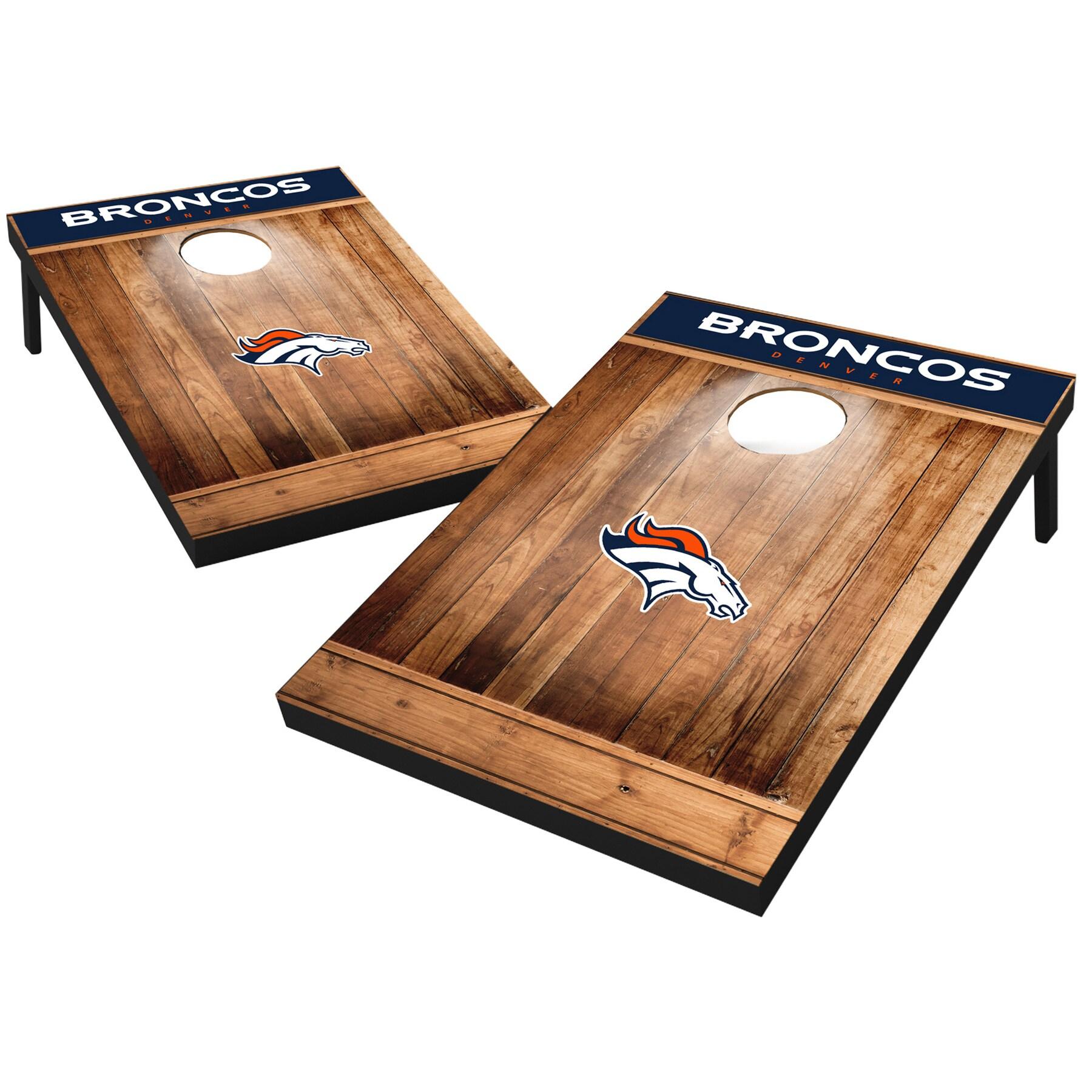 Denver Broncos 2' x 3' Wood Design Cornhole Board Tailgate Toss Set
