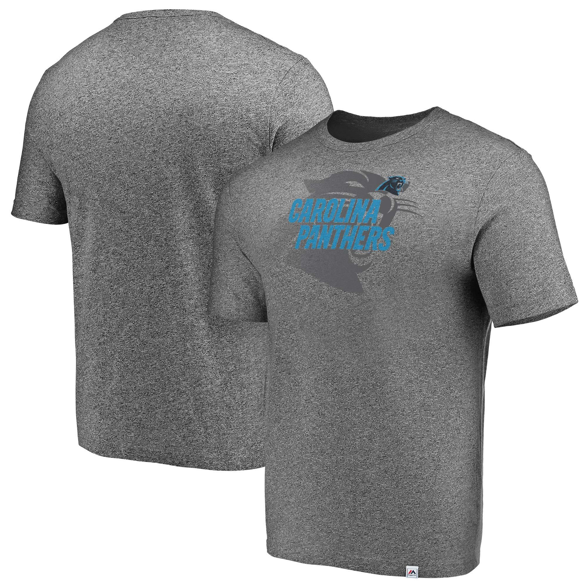 Carolina Panthers Majestic Static Fade Marled T-Shirt - Heathered Gray