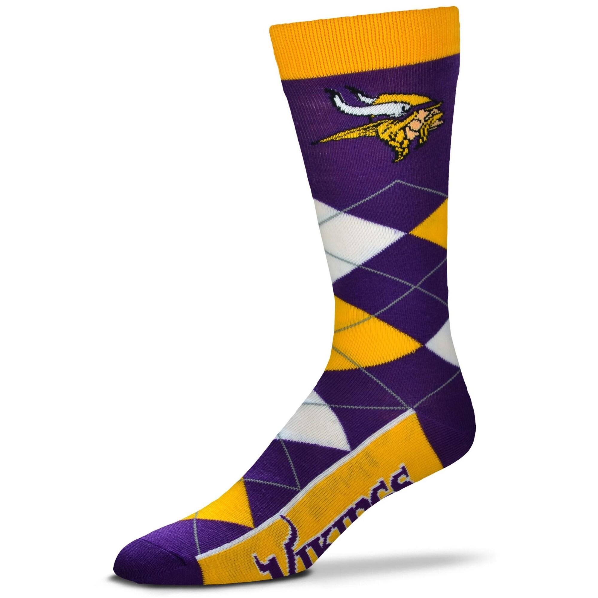 Minnesota Vikings For Bare Feet Argyle Crew Socks