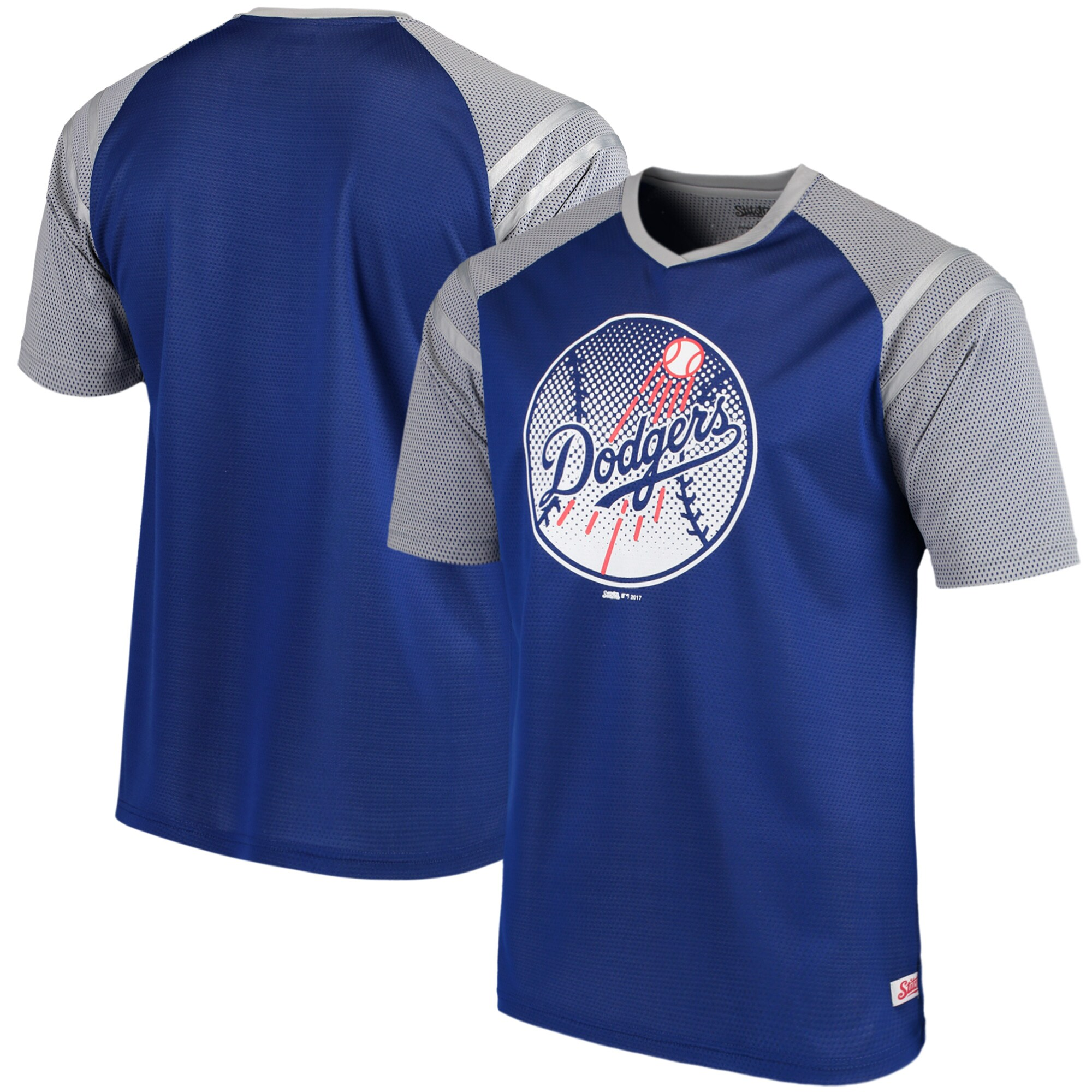 Los Angeles Dodgers Stitches V-Neck Mesh Jersey T-Shirt - Royal/Gray