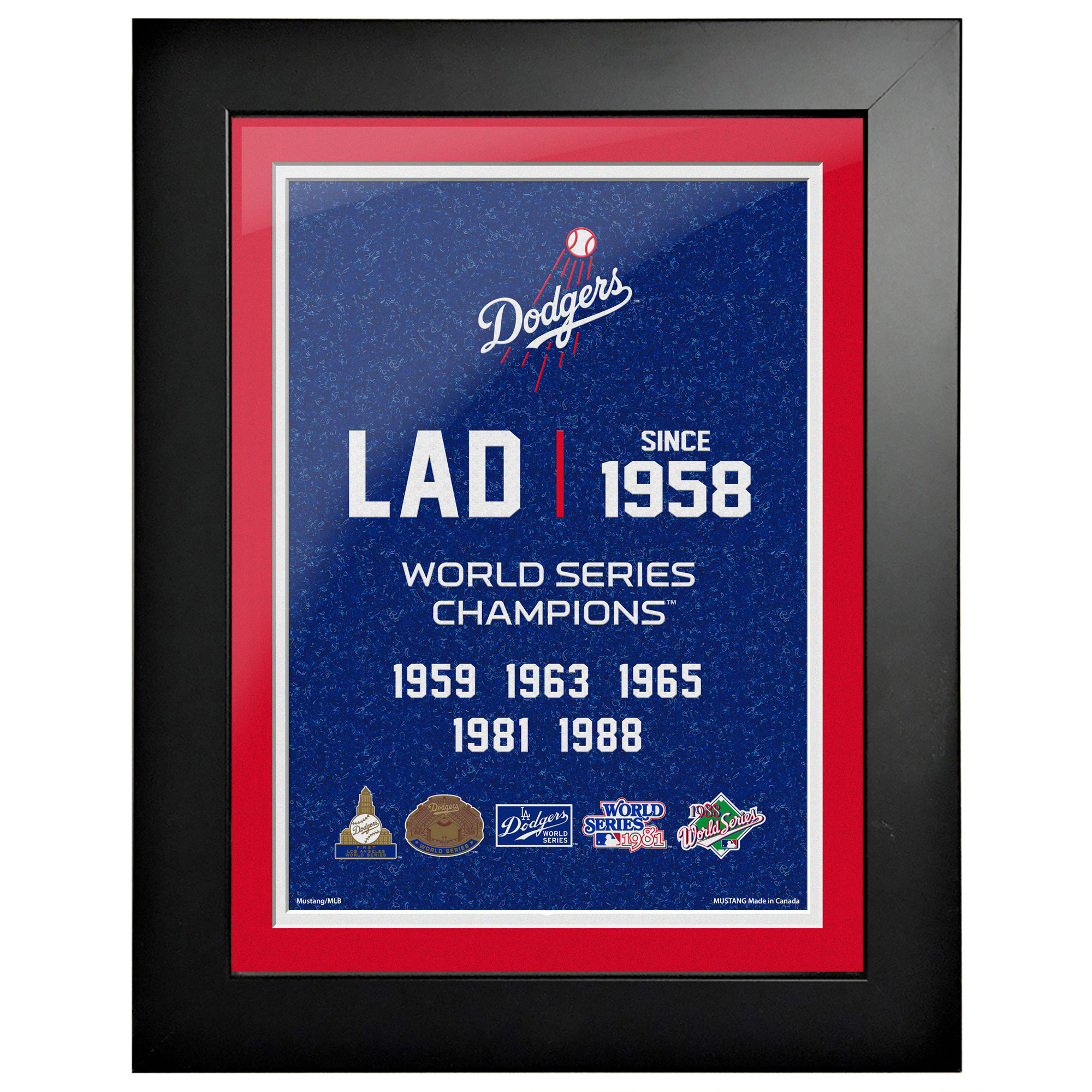 Los Angeles Dodgers 5-Time World Series Champions 18'' x 14'' Empire Framed Art