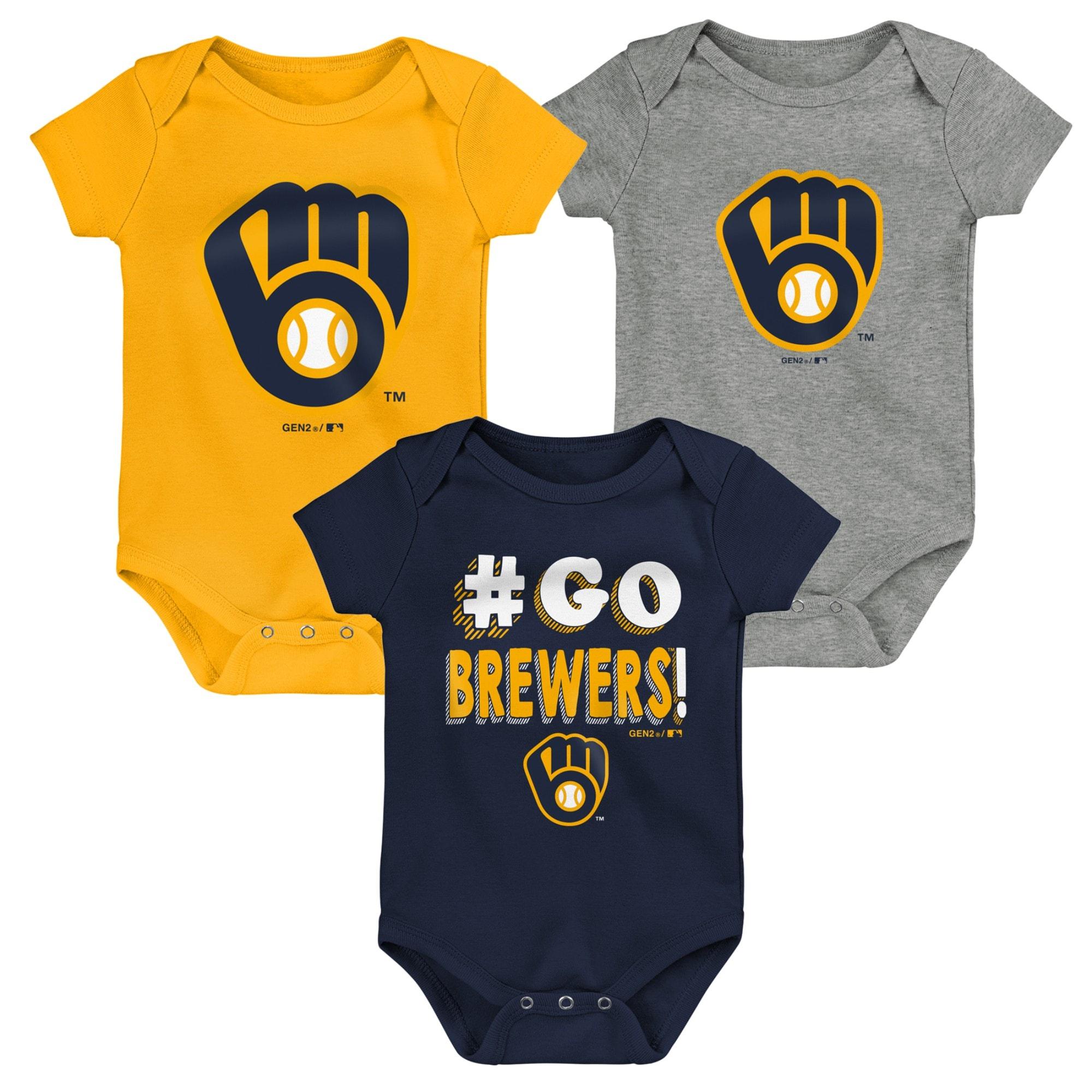 Milwaukee Brewers Newborn & Infant Born To Win 3-Pack Bodysuit Set - Navy/Gold/Gray