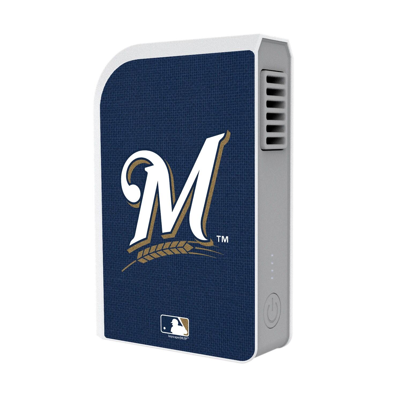 Milwaukee Brewers Solid 6000 mAh Phone Charging Powerbank & Personal Fan