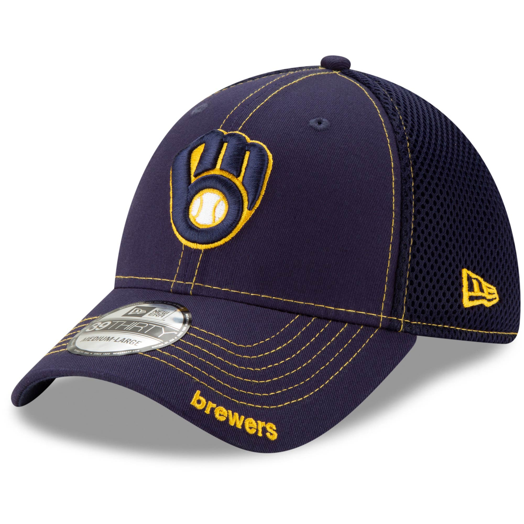 Milwaukee Brewers New Era Neo 39THIRTY Flex Hat - Navy