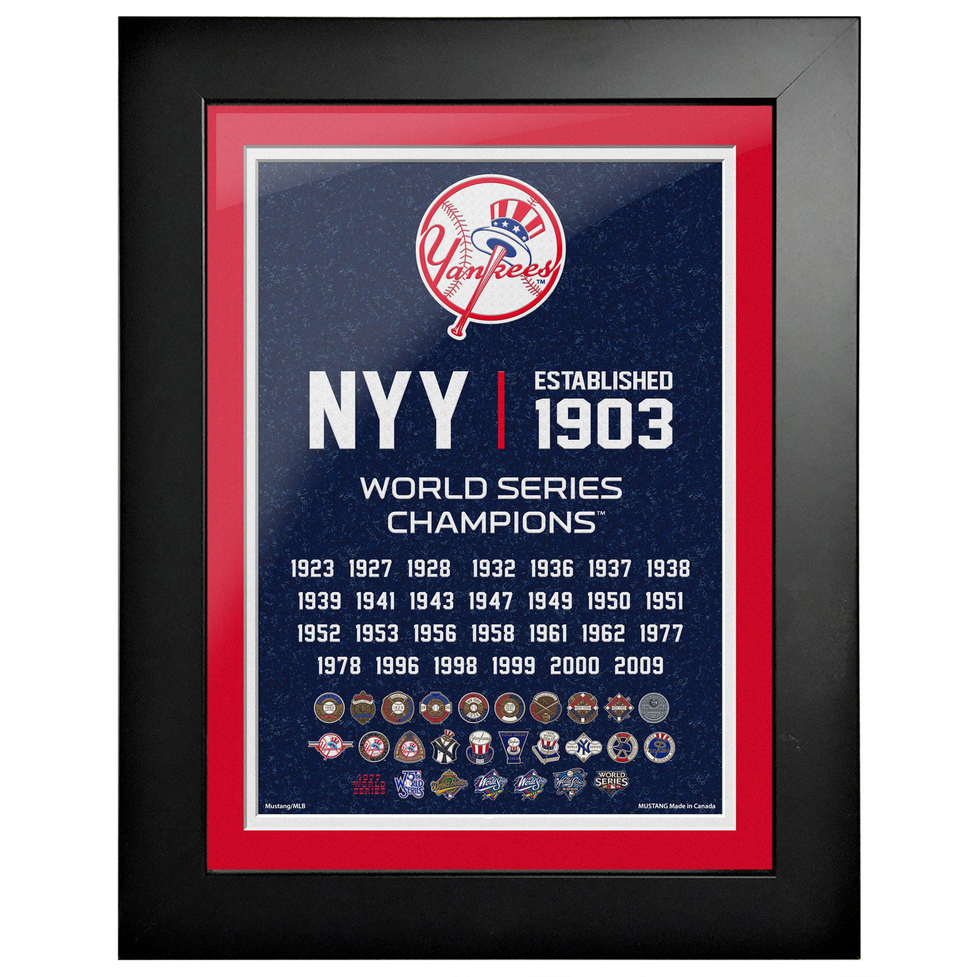 New York Yankees 27-Time World Series Champions 18'' x 14'' Empire Framed Art
