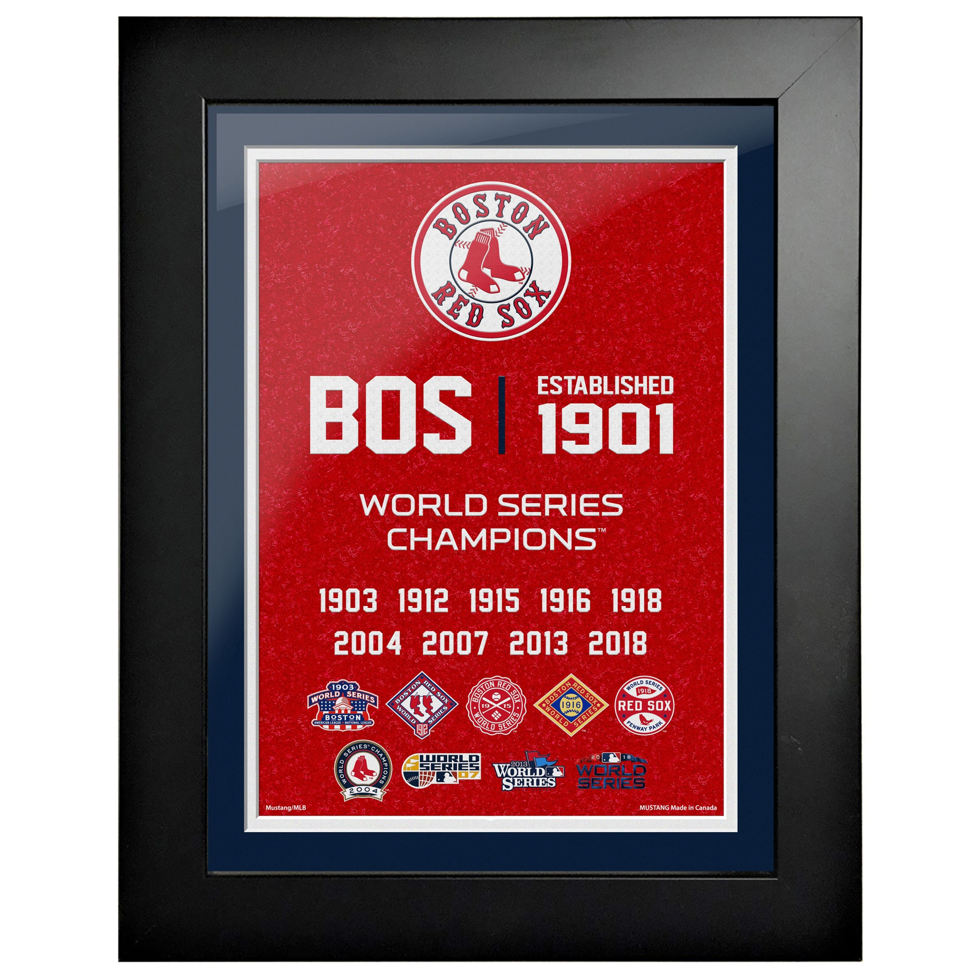 Boston Red Sox 9-Time World Series Champions 18'' x 14'' Empire Framed Art
