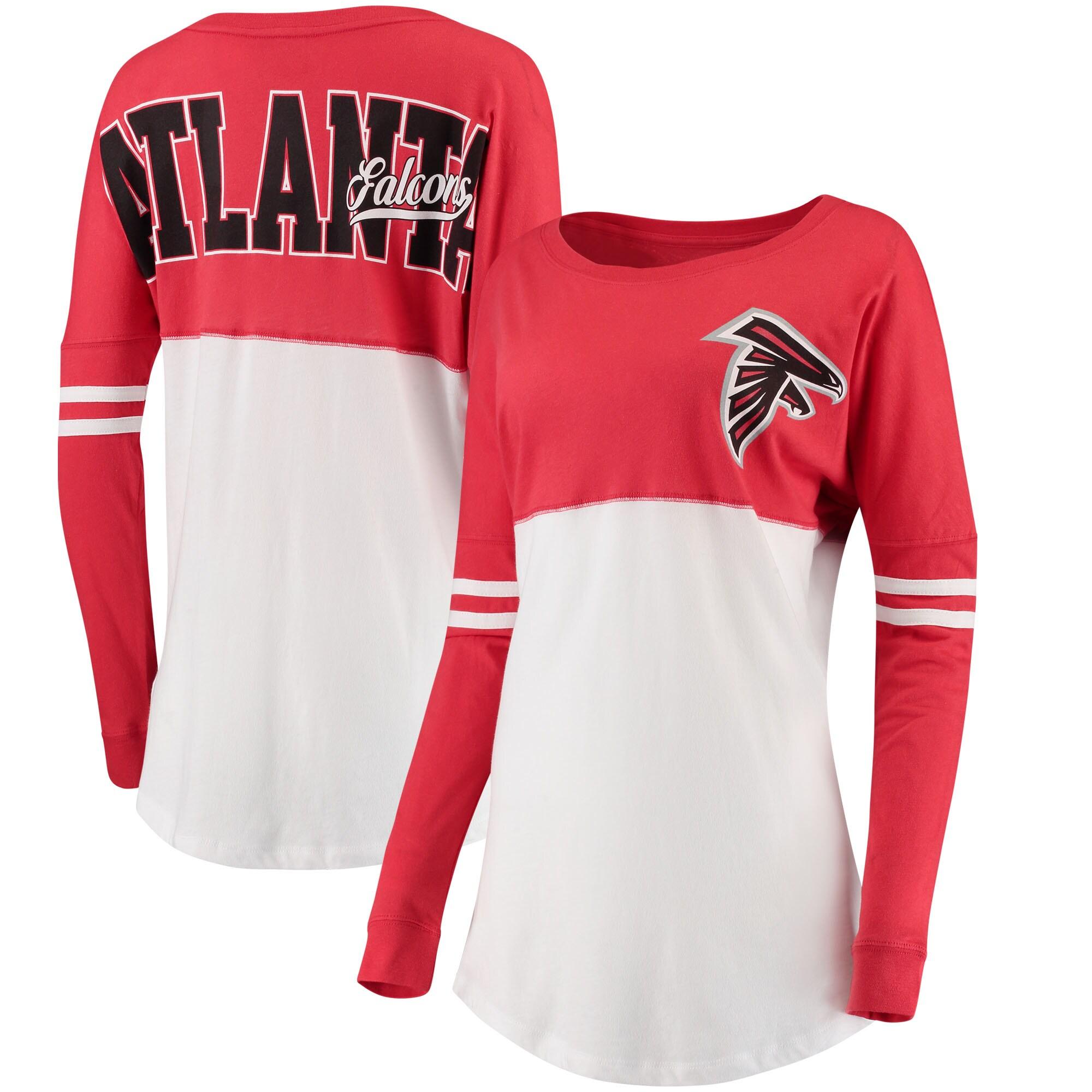 Atlanta Falcons 5th & Ocean by New Era Women's Team Logo Athletic Varsity Long Sleeve T-Shirt - Red/White