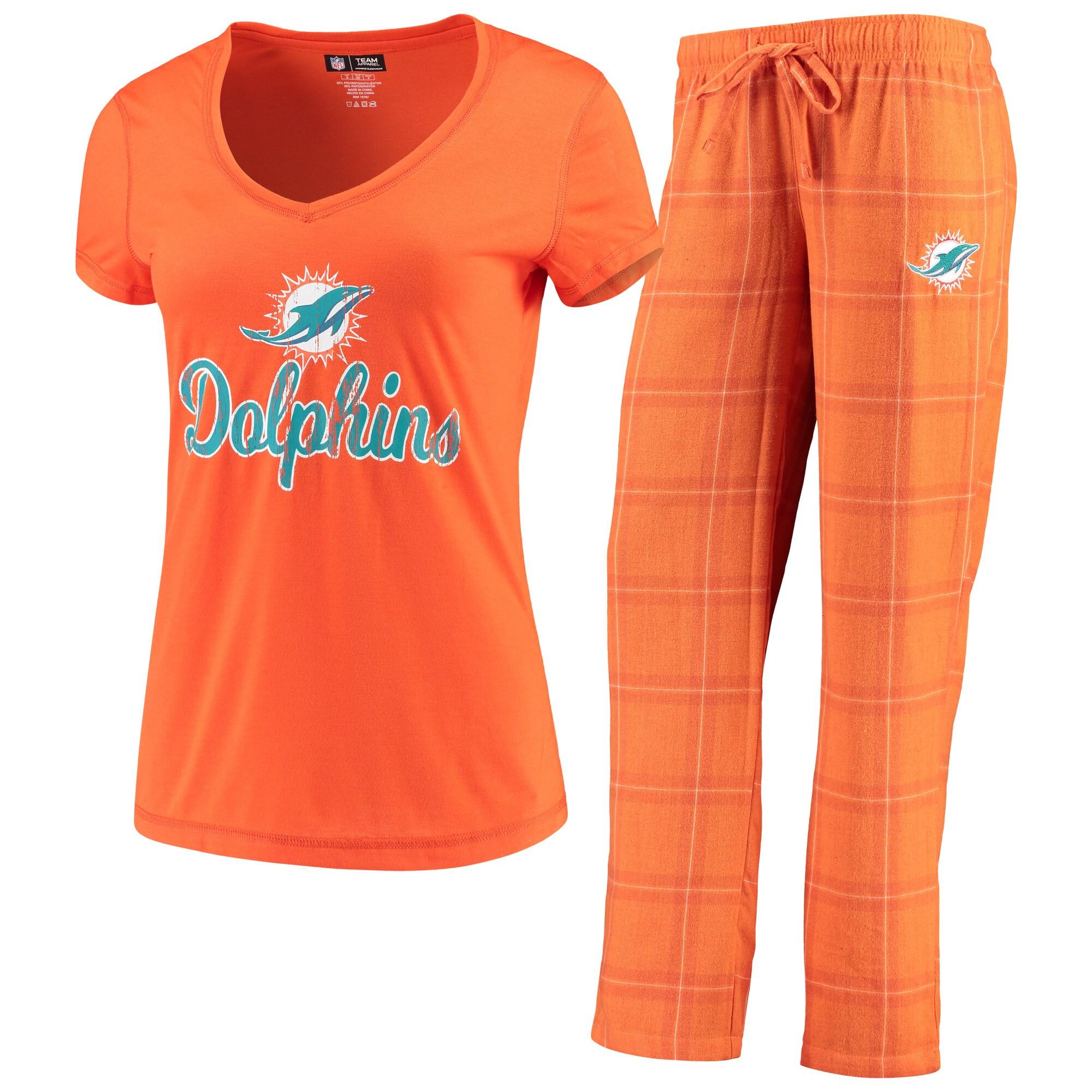 Miami Dolphins Concepts Sport Women's Troupe V-Neck T-Shirt & Pants Sleep Set - Orange/White