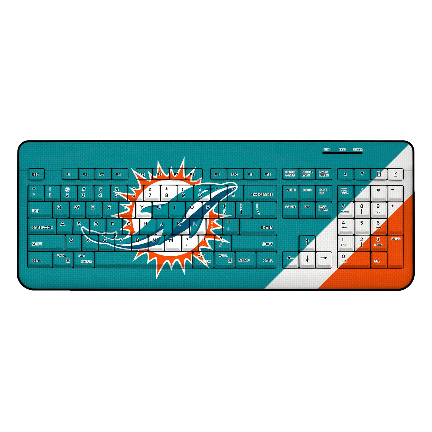 Miami Dolphins Diagonal Stripe Wireless Keyboard