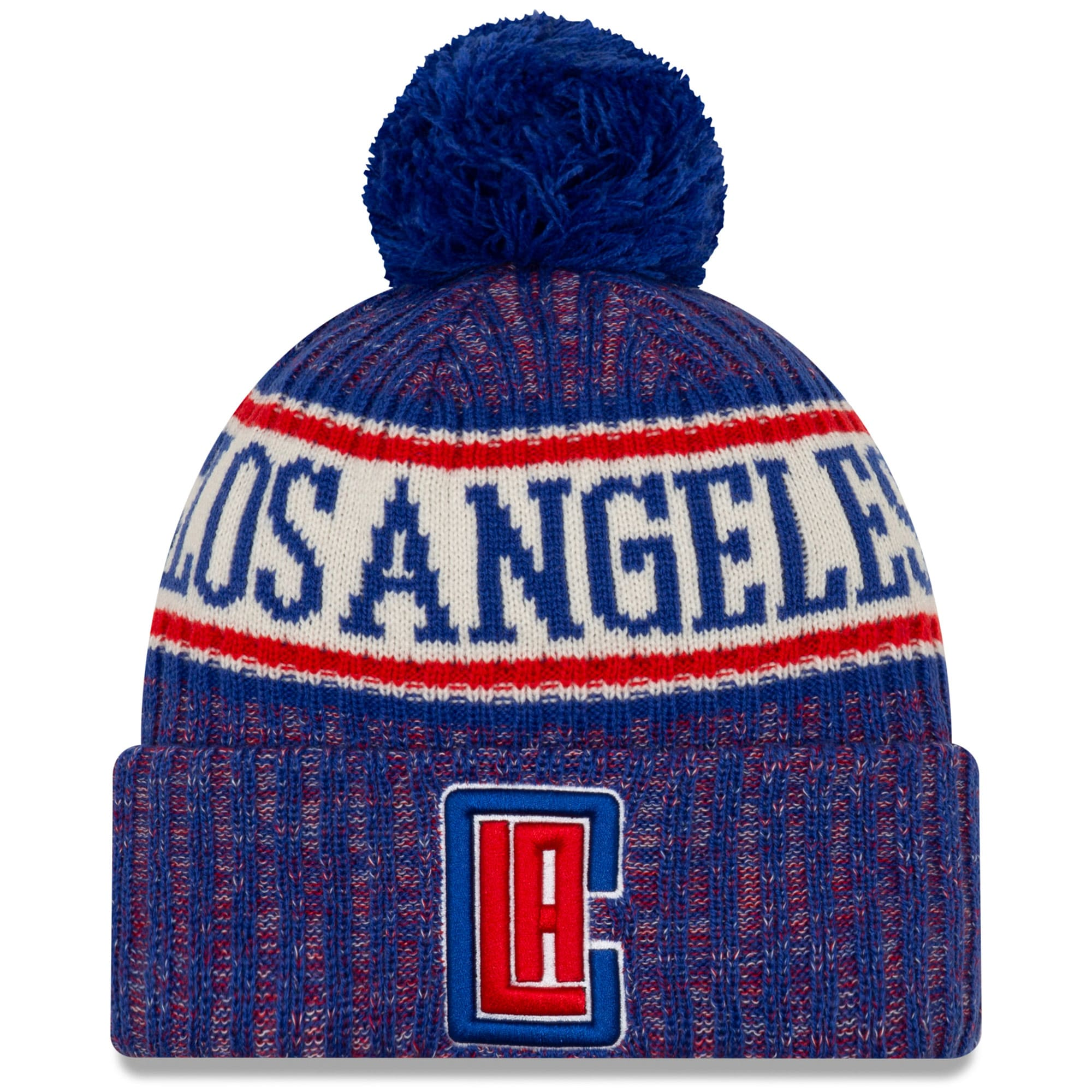 LA Clippers New Era Sport Cuffed Knit Hat with Pom - Royal