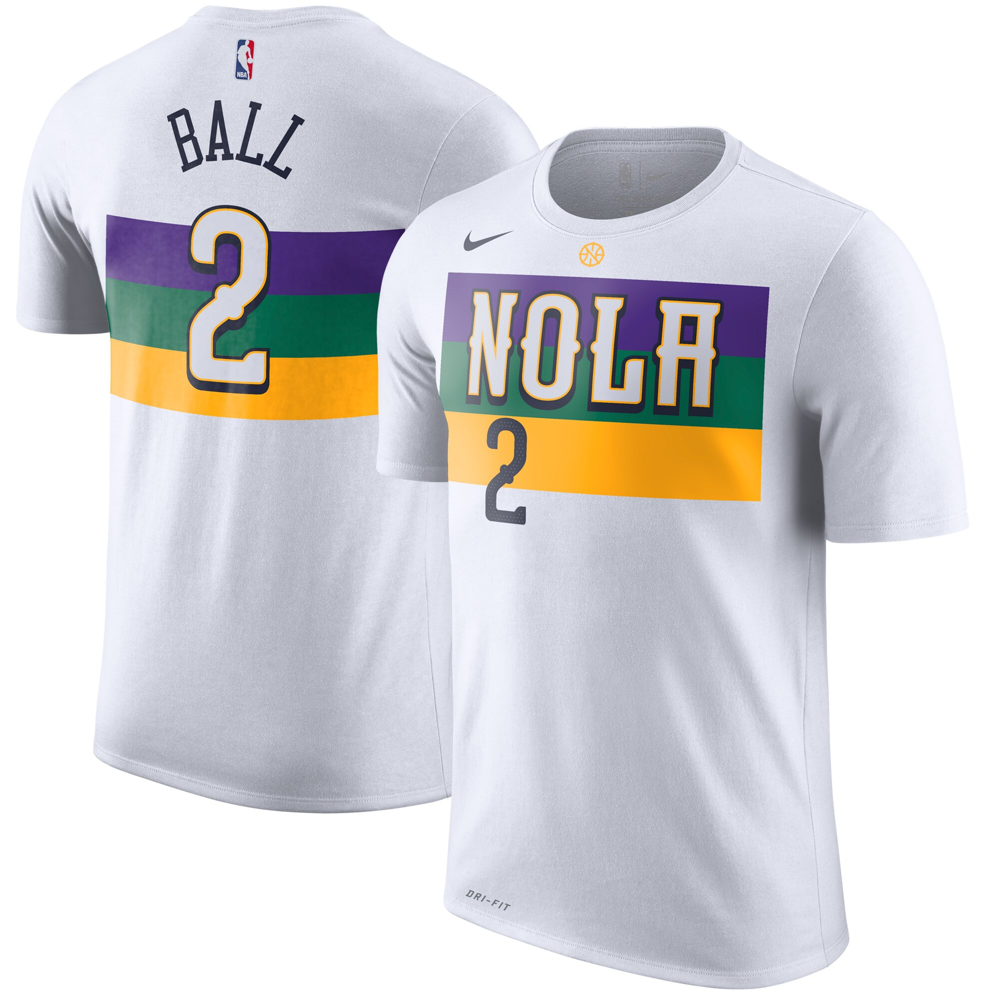 Lonzo Ball New Orleans Pelicans Nike 2019/20 City Edition Name & Number T-Shirt - White