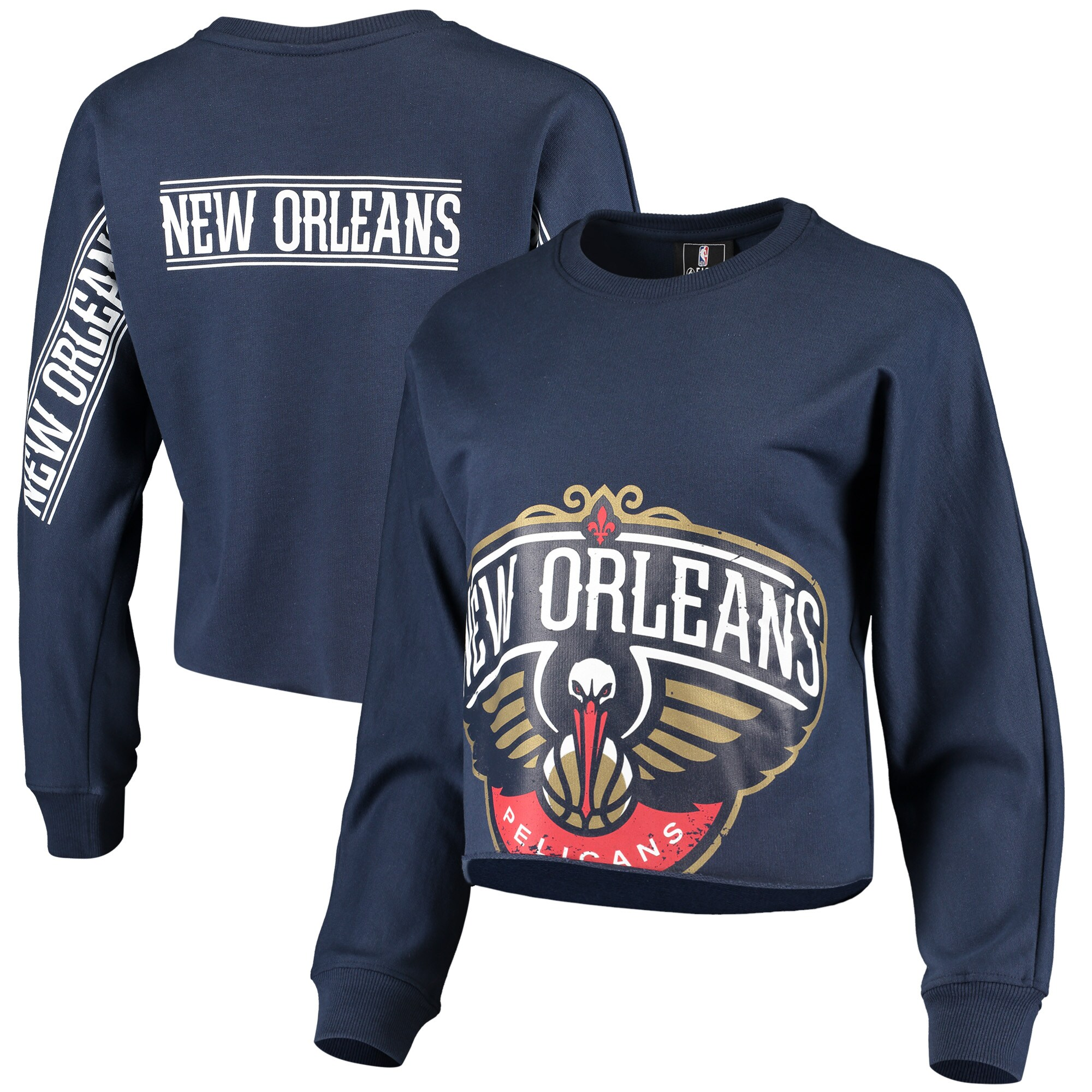 New Orleans Pelicans Women's Cropped Long Sleeve T-Shirt - Navy
