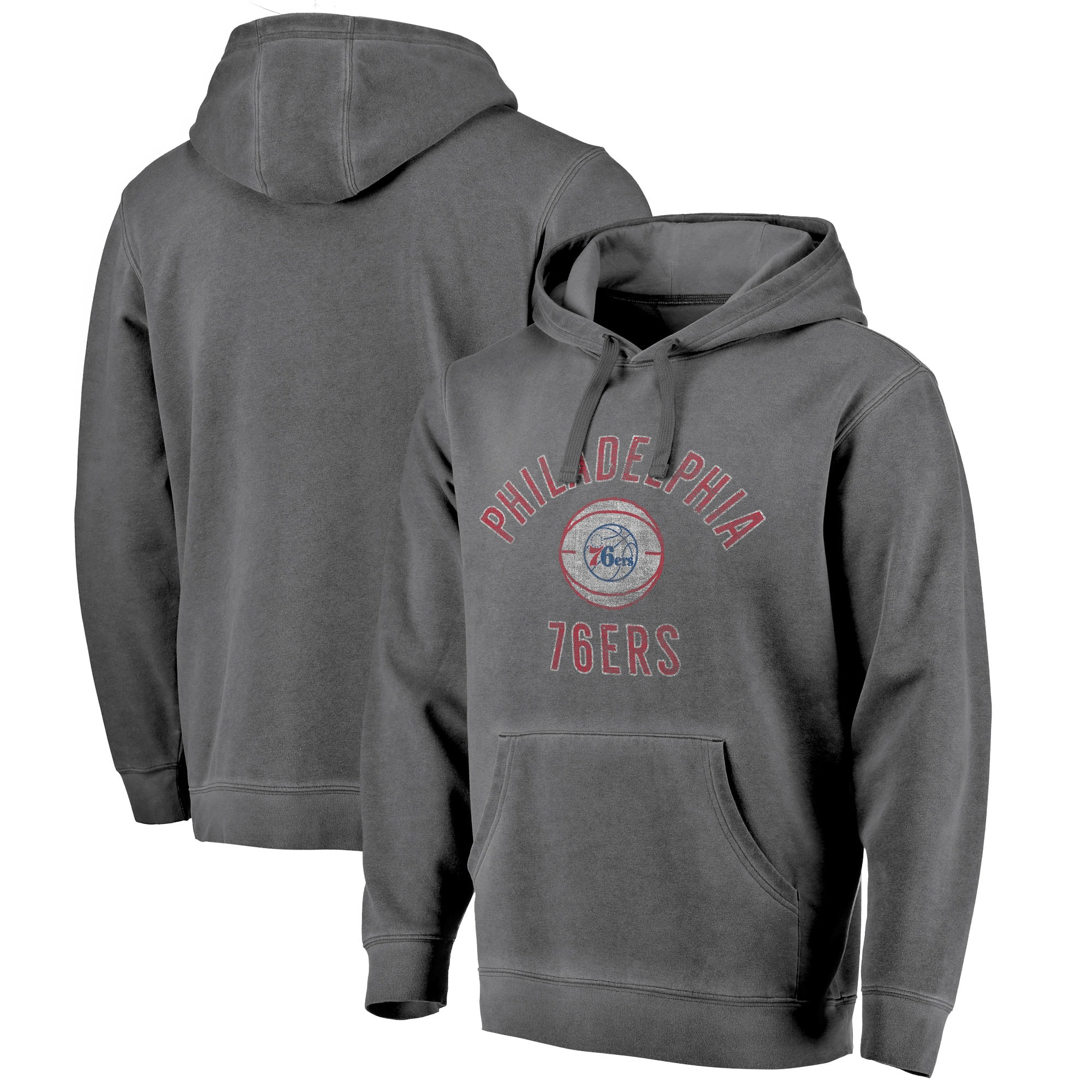 Philadelphia 76ers Fanatics Branded Icon Shadow Washed Pullover Hoodie - Black