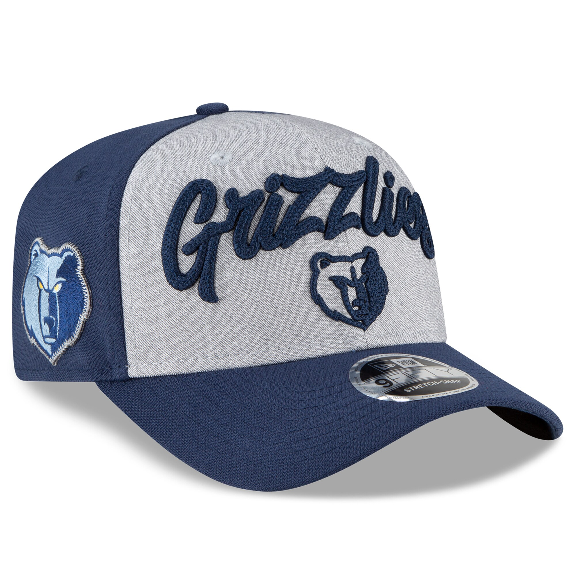 Memphis Grizzlies New Era 2020 NBA Draft OTC 9FIFTY Snapback Adjustable Hat - Heather Gray/Navy