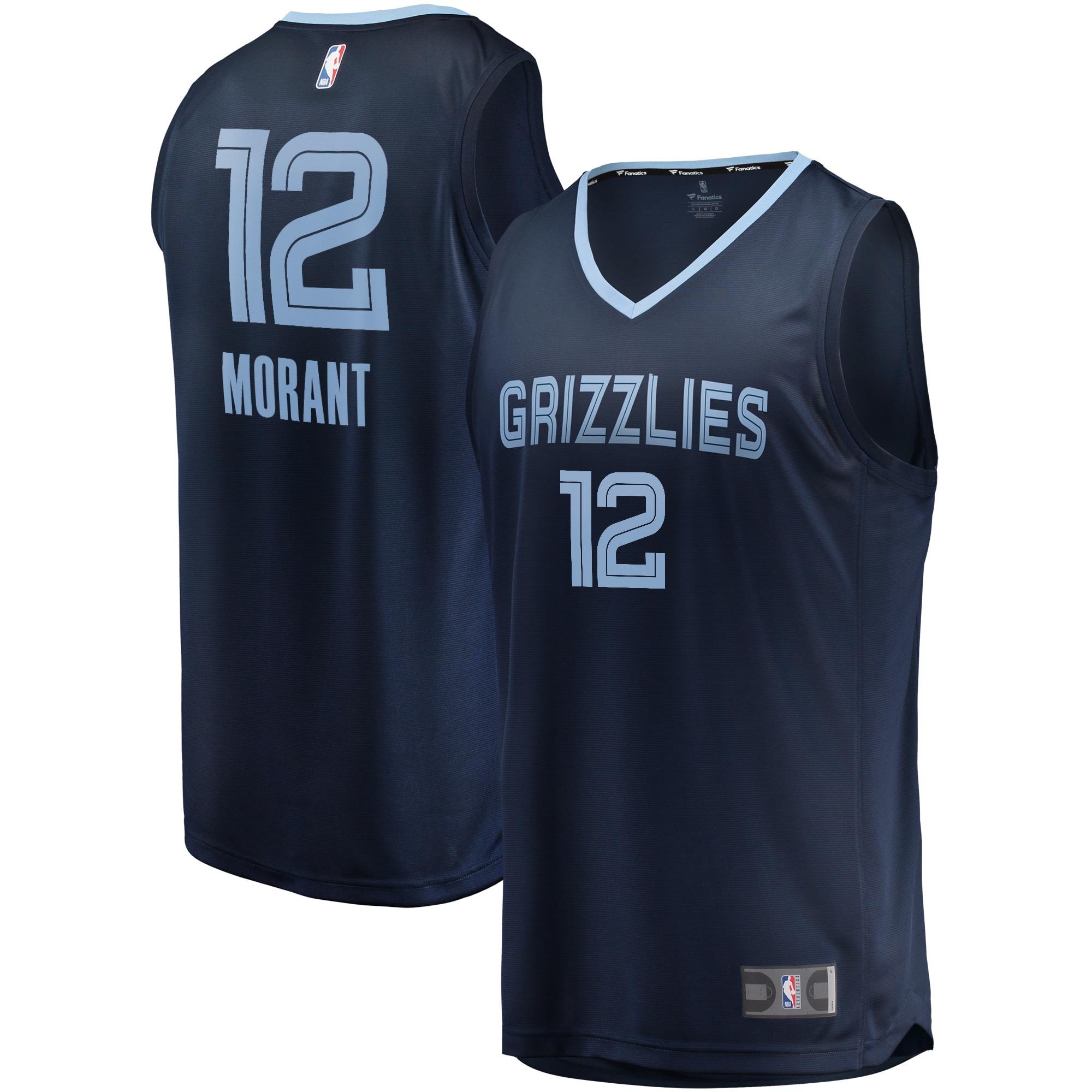 Ja Morant Memphis Grizzlies Fanatics Branded 2019 NBA Draft First Round Pick Fast Break Replica Jersey Navy - Icon Edition