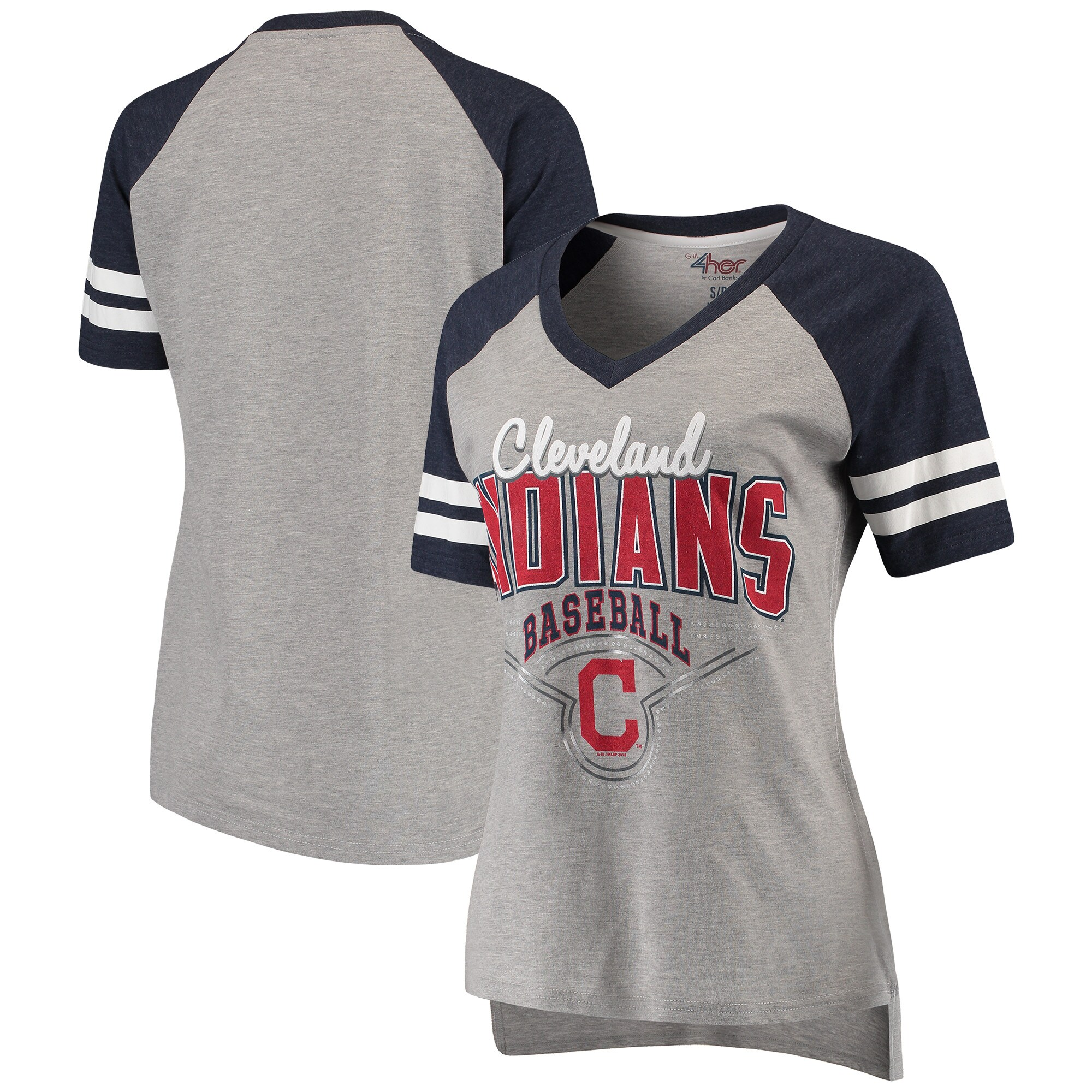 Cleveland Indians G-III 4Her by Carl Banks Women's Goal Line V-Neck T-Shirt - Heathered Gray/Navy