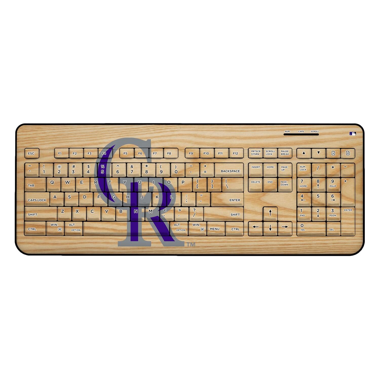 Colorado Rockies Wood Print Wireless USB Keyboard