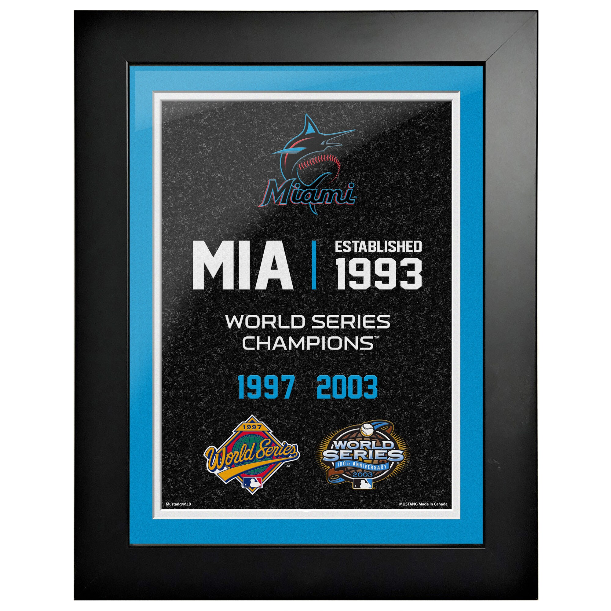 Miami Marlins 2-Time World Series Champions 18'' x 14'' Empire Framed Art