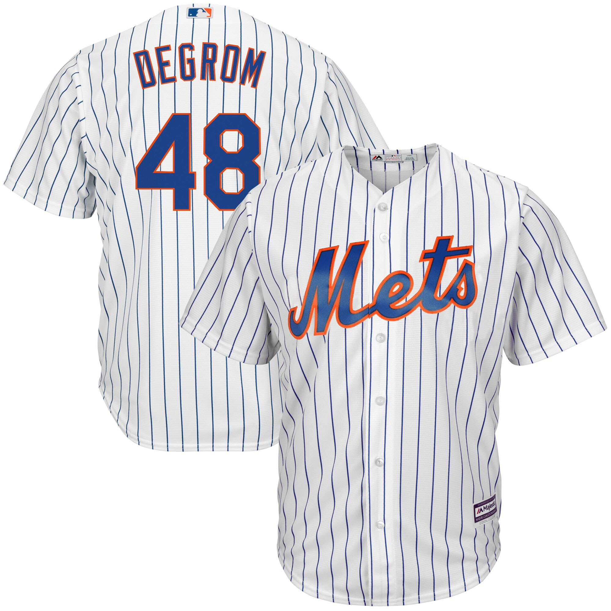 Jacob deGrom New York Mets Majestic Big & Tall Official Cool Base Player Jersey - White/Royal