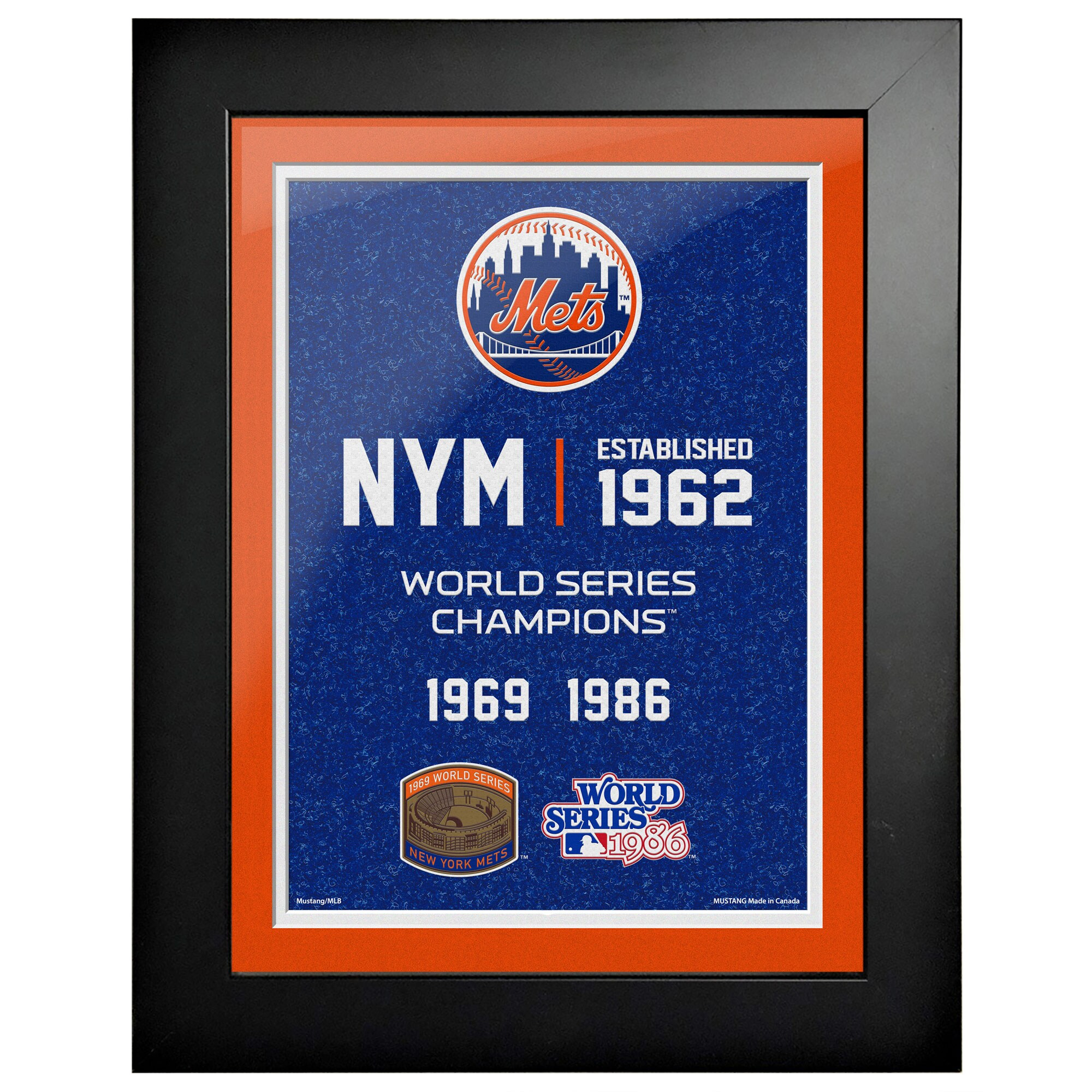 New York Mets 2-Time World Series Champions 18'' x 14'' Empire Framed Art