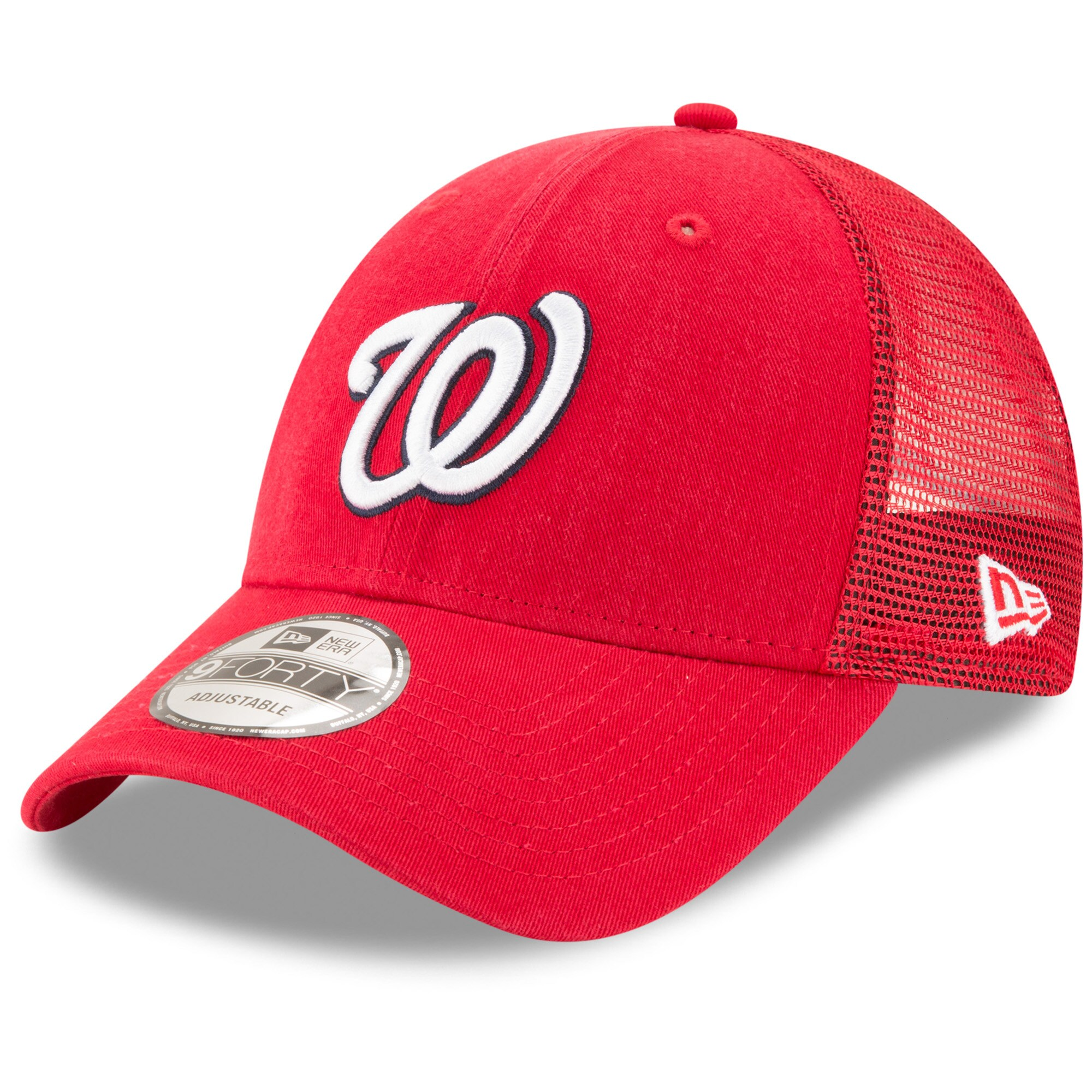 Washington Nationals New Era Trucker 9FORTY Adjustable Snapback Hat - Red
