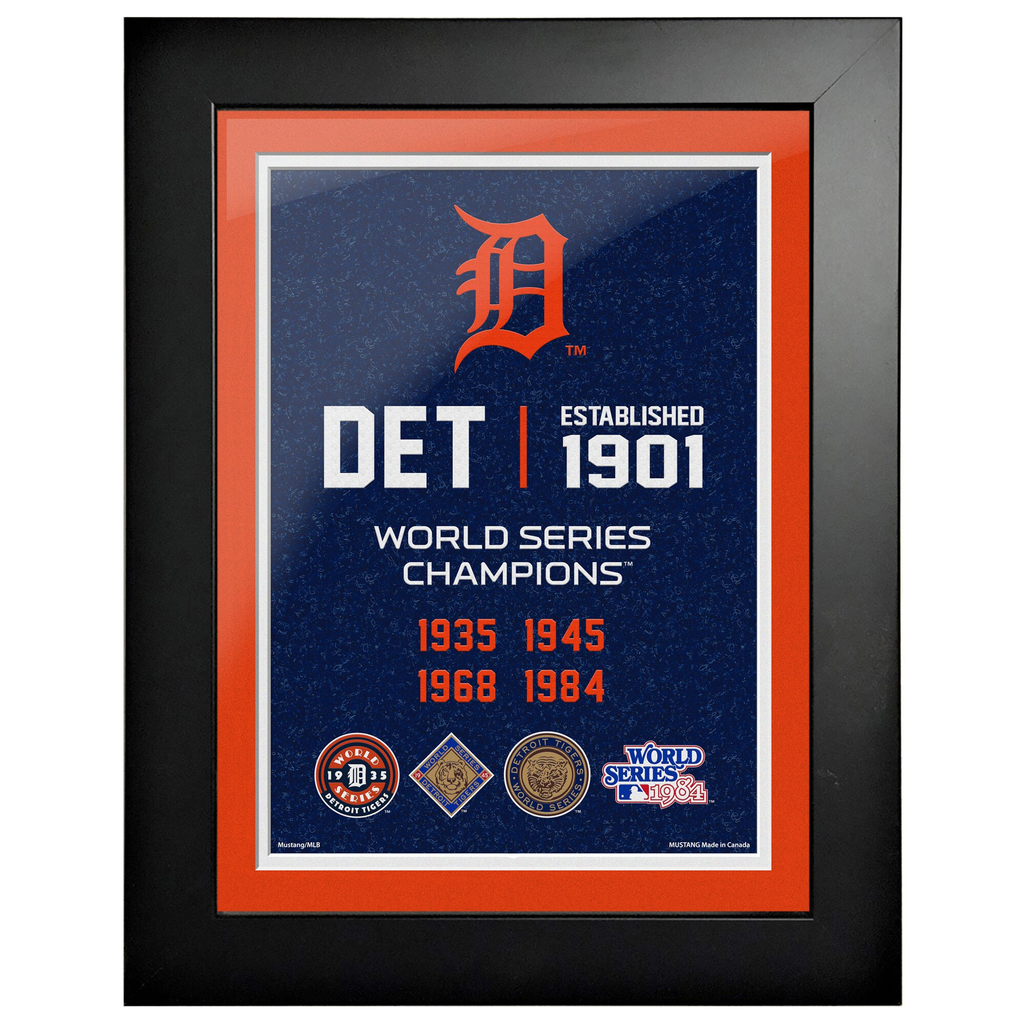 Detroit Tigers 4-Time World Series Champions 18'' x 14'' Empire Framed Art