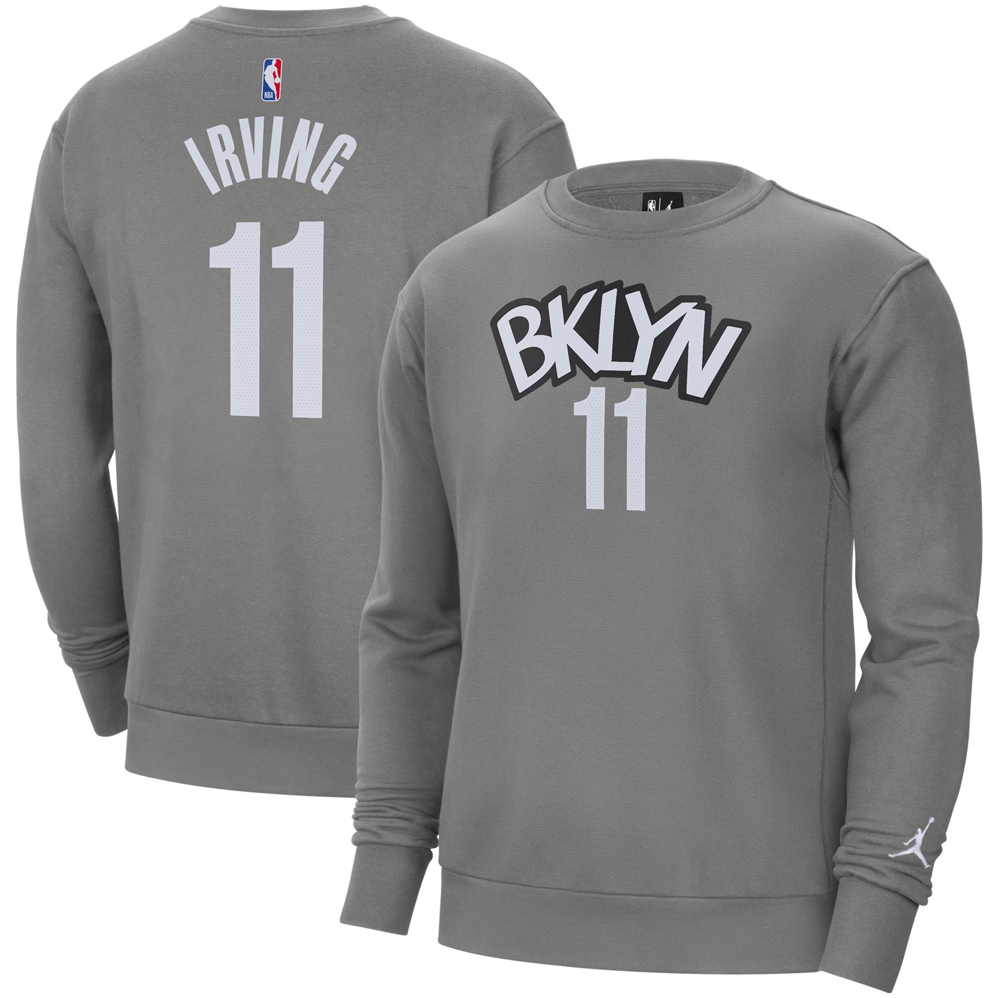 Kyrie Irving Brooklyn Nets Jordan Brand Name & Number Fleece Crew Sweatshirt - Gray