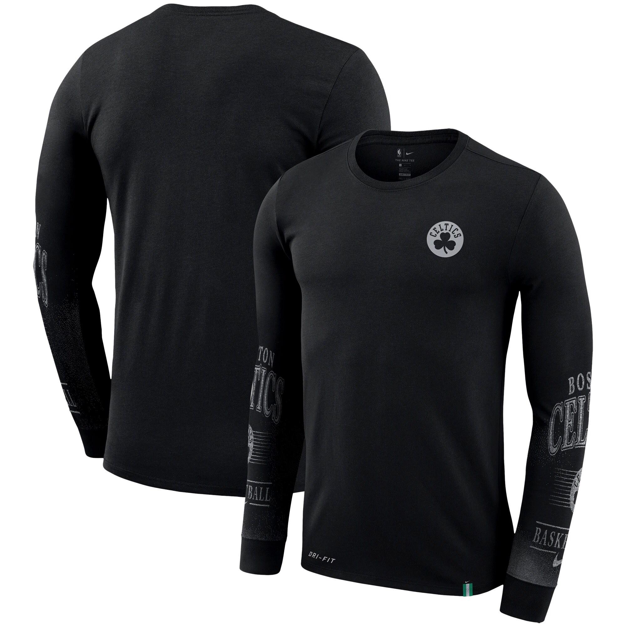 Boston Celtics Nike Elevated Mezzo Pixel Performance Long Sleeve T-Shirt - Black