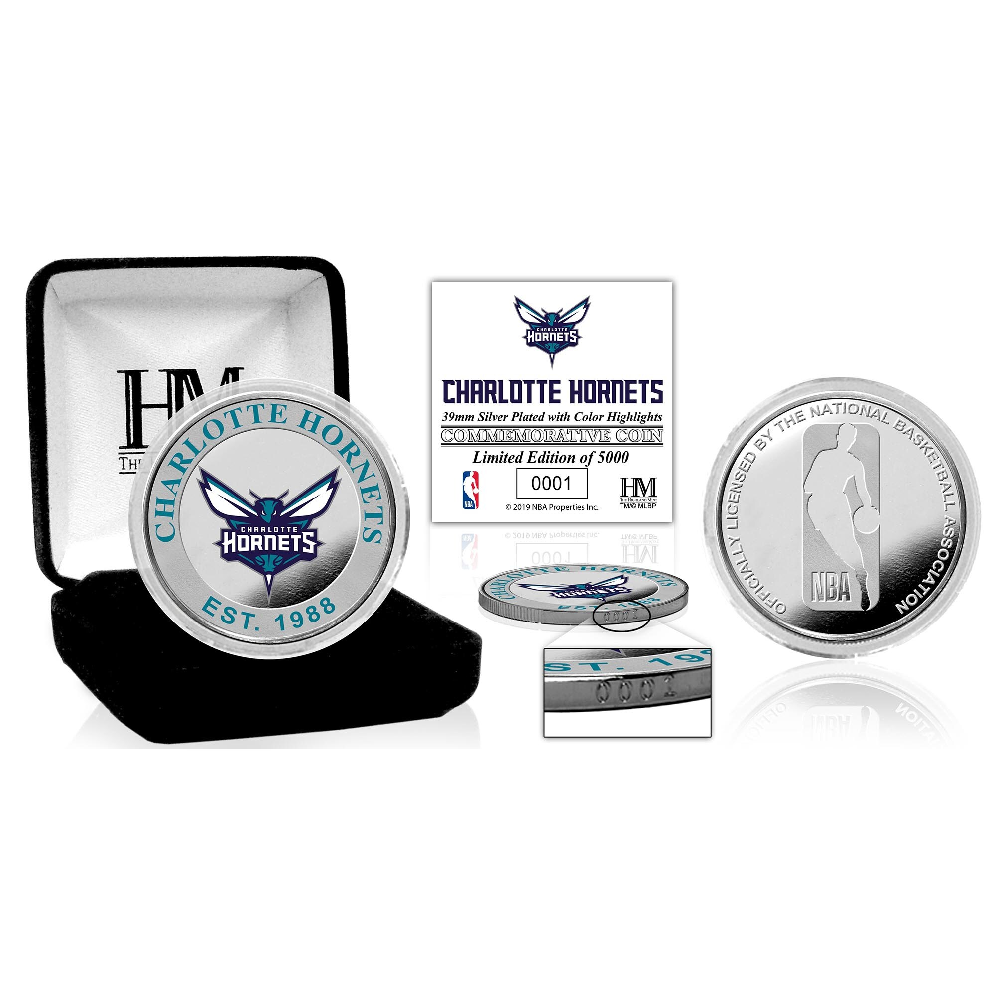 Charlotte Hornets Highland Mint Color Silver Coin