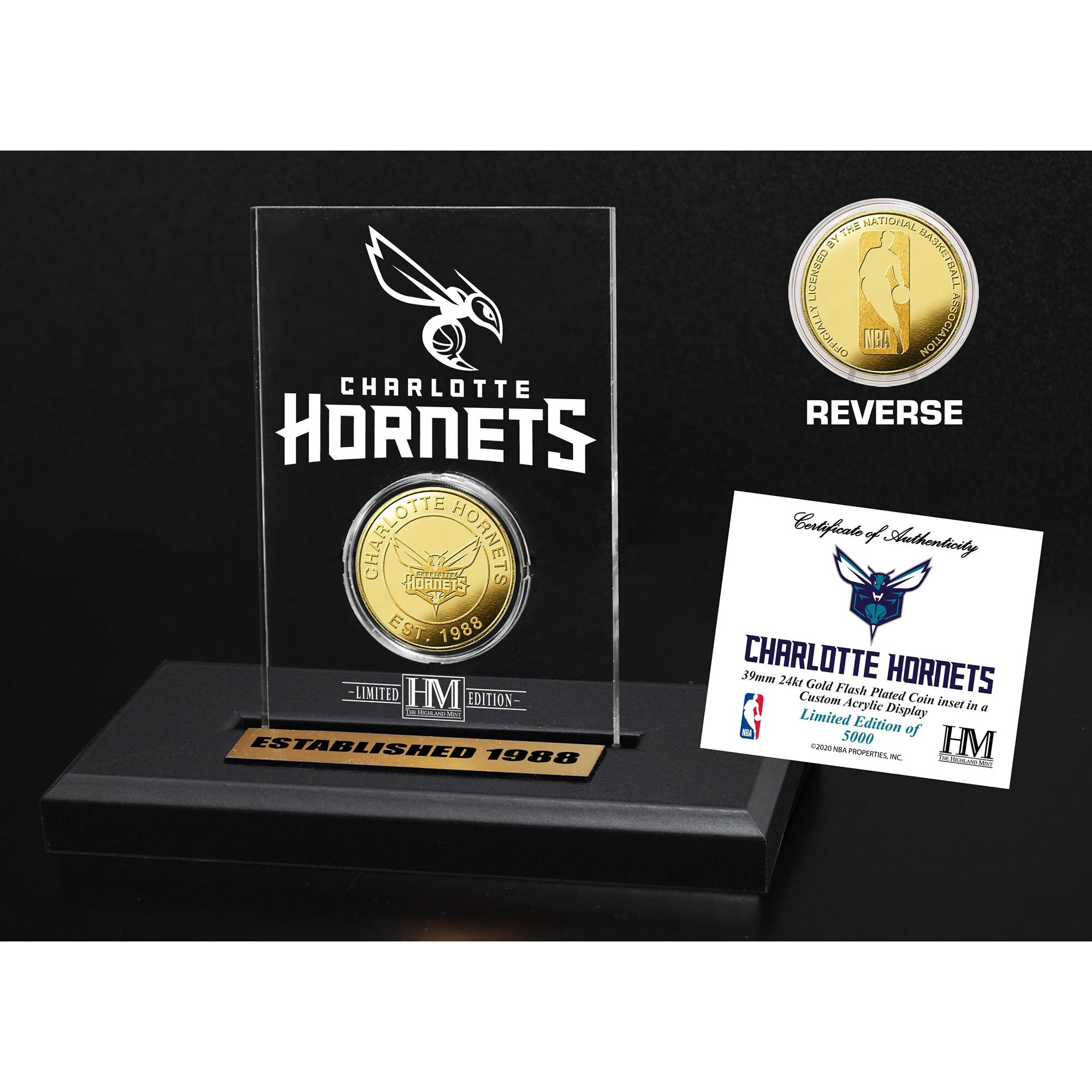 Charlotte Hornets Highland Mint Gold Coin Acrylic Desk Top Display