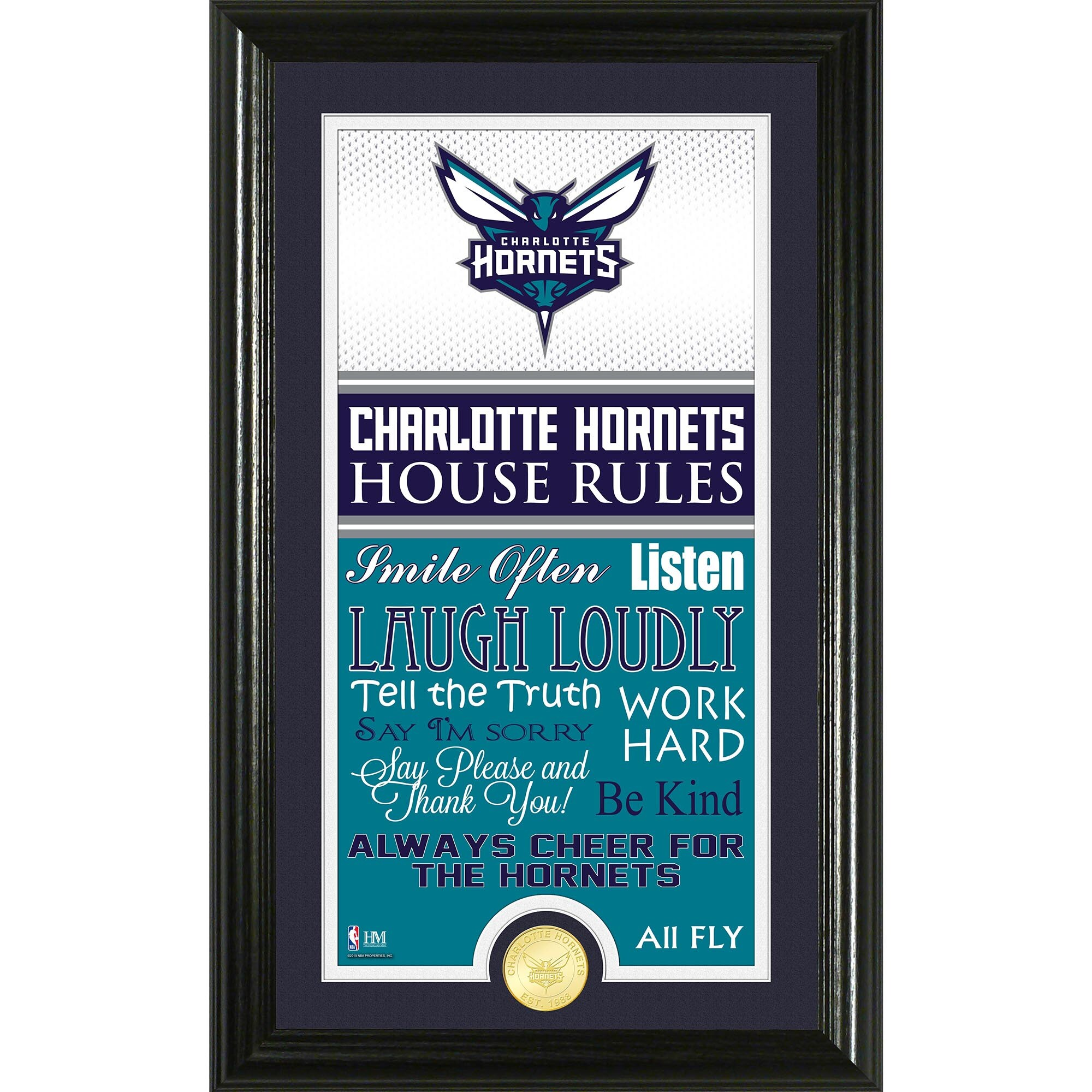 Charlotte Hornets Highland Mint House Rules Bronze Coin Photo Mint