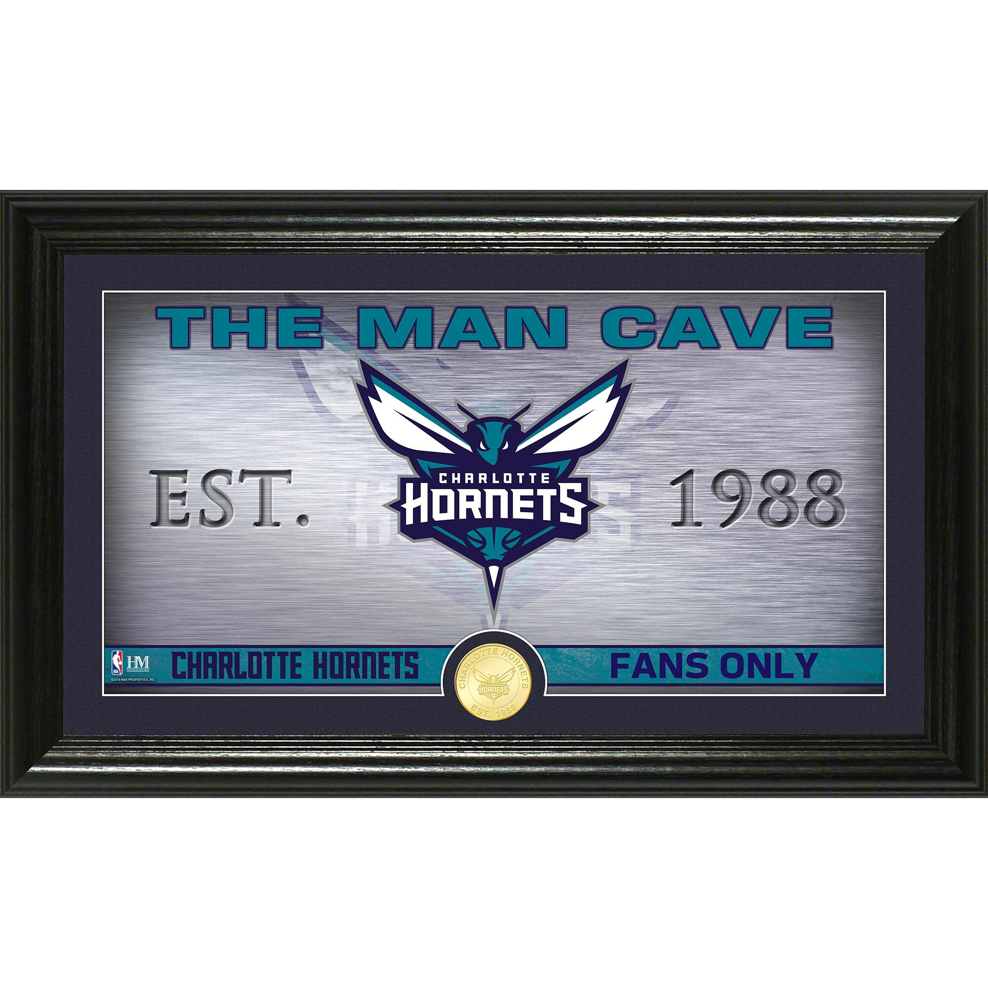 Charlotte Hornets Highland Mint Man Cave Bronze Coin Panoramic Photo Mint