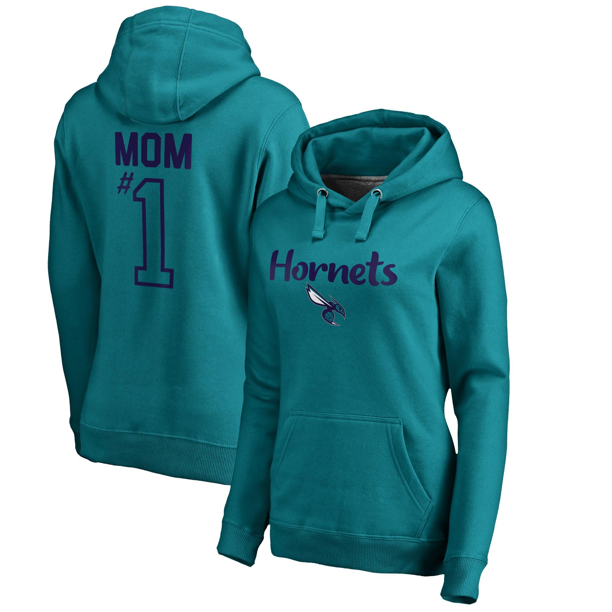 Charlotte Hornets Fanatics Branded Women's #1 Mom Logo Pullover Hoodie - Teal