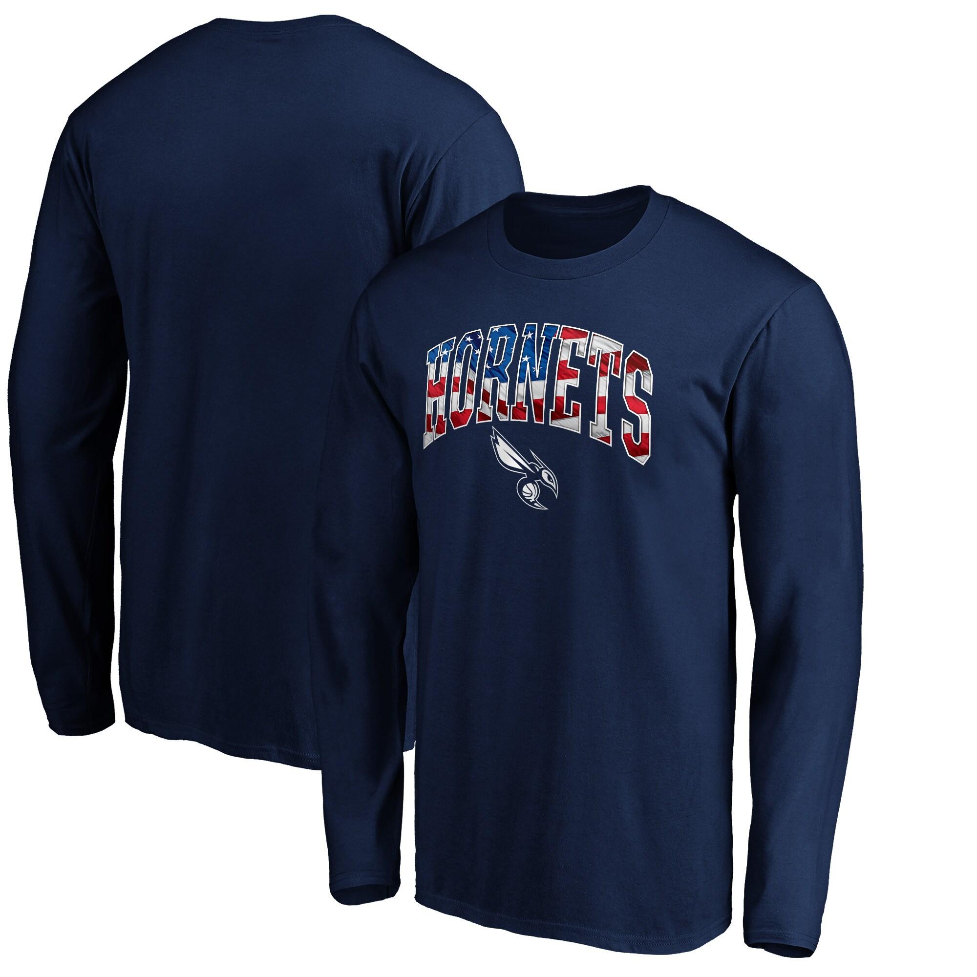 Charlotte Hornets Fanatics Branded Banner Wave Long Sleeve T-Shirt - Navy