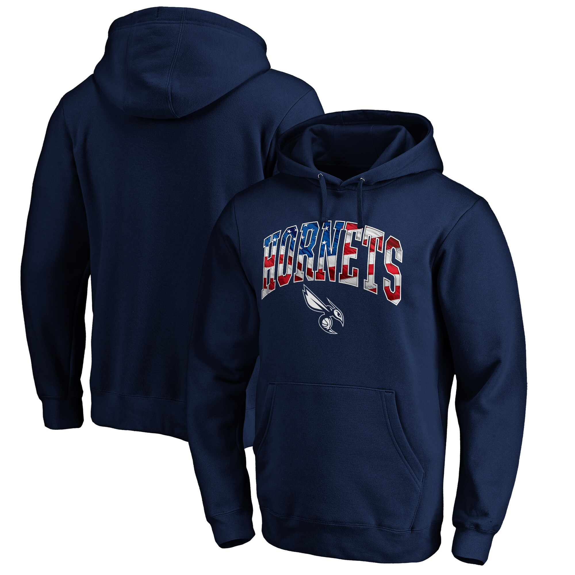 Charlotte Hornets Fanatics Branded Banner Wave Pullover Hoodie - Navy