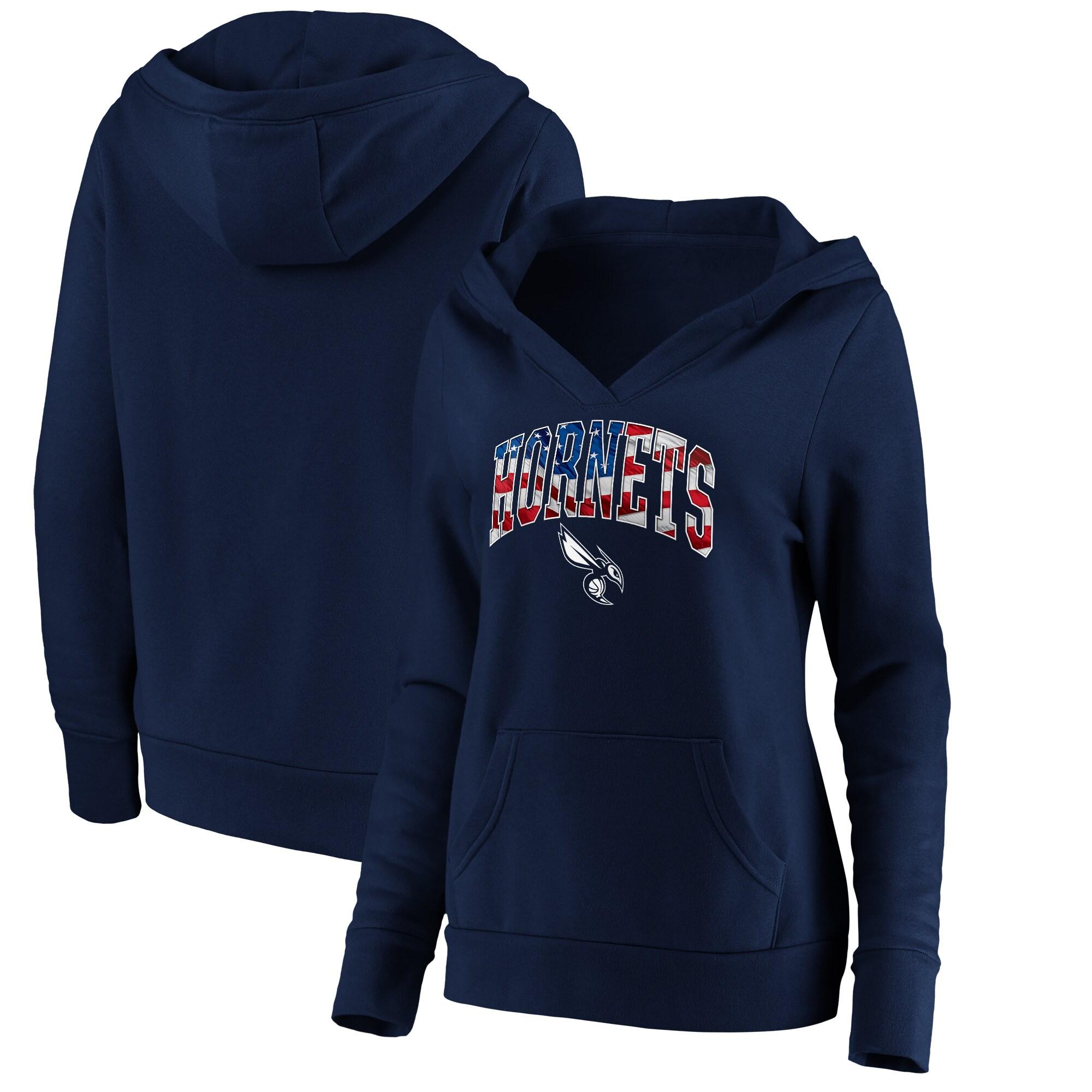 Charlotte Hornets Fanatics Branded Women's Banner Wave V-Neck Pullover Hoodie - Navy