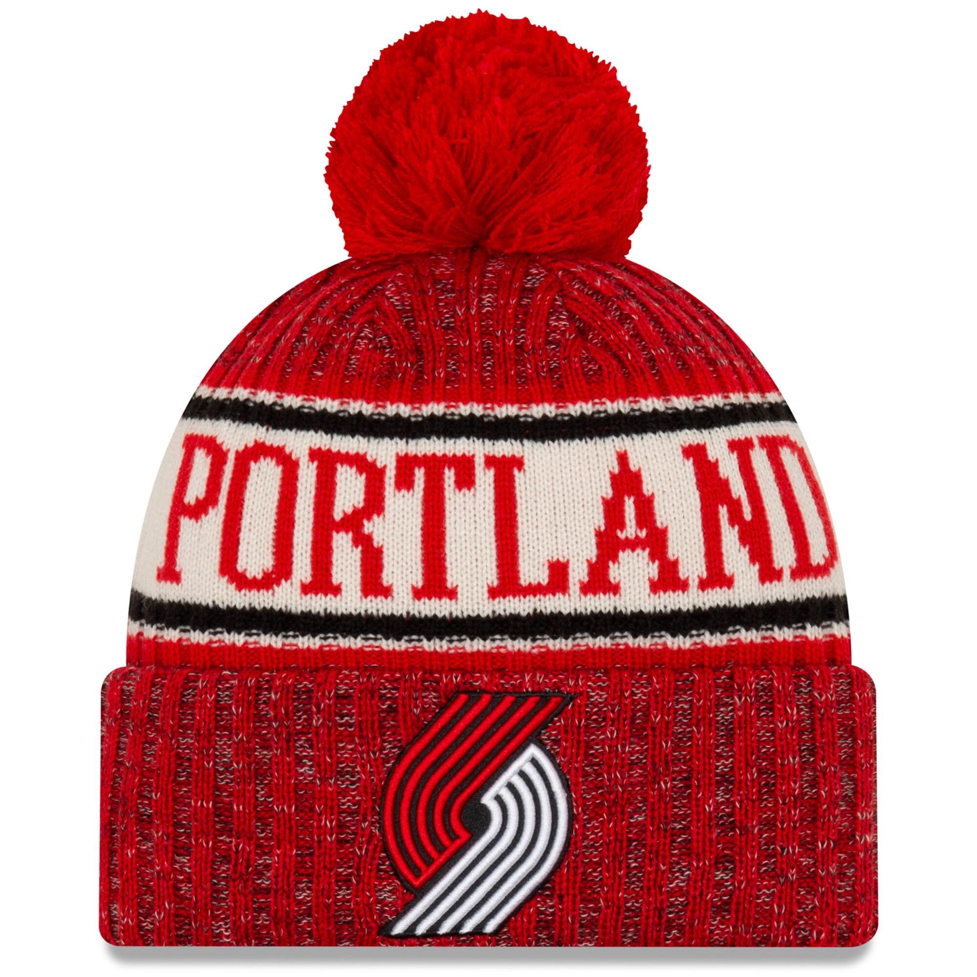 Portland Trail Blazers New Era Sport Cuffed Knit Hat with Pom - Red