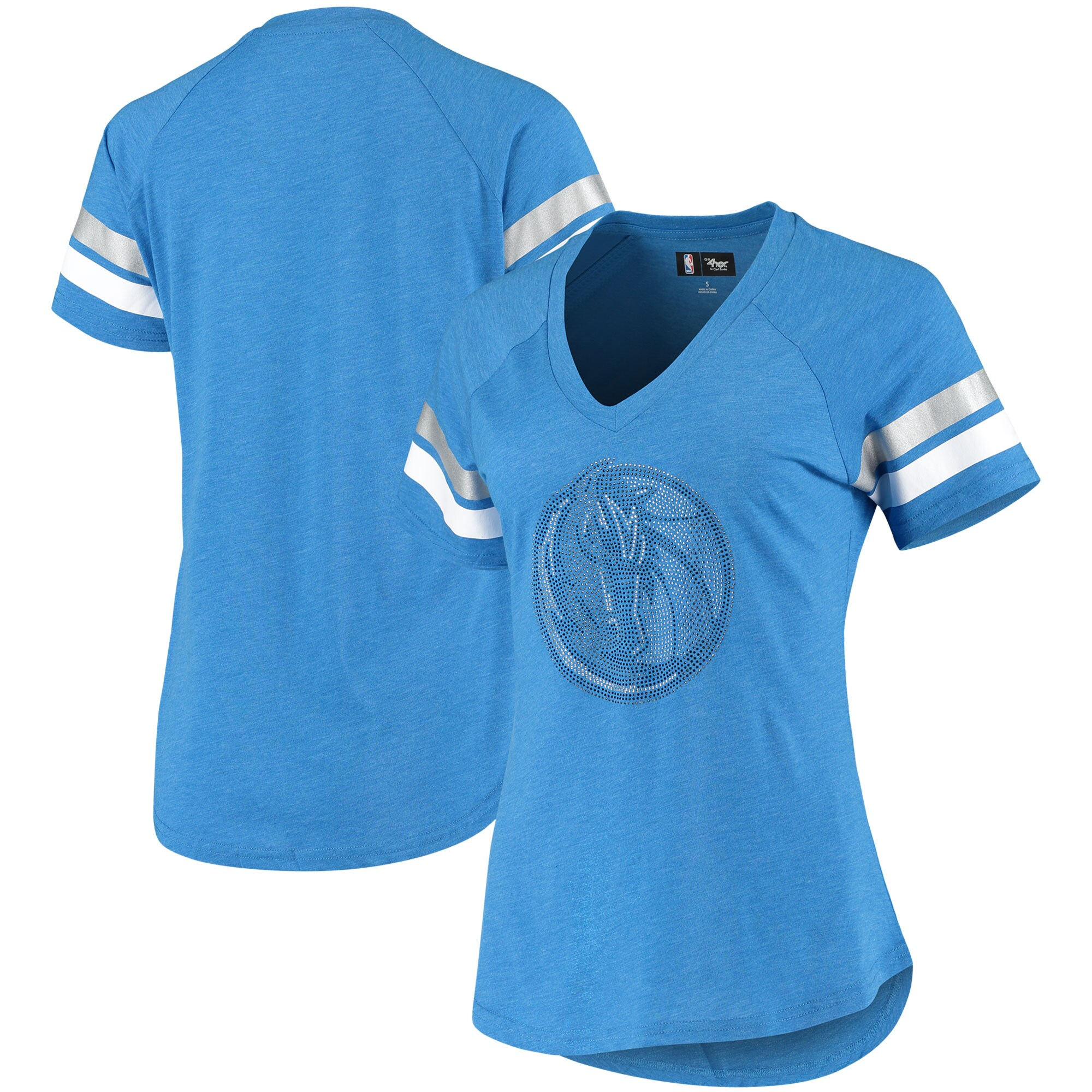 Dallas Mavericks G-III 4Her by Carl Banks Women's Triple Double Rhinestone Tri-Blend V-Neck T-Shirt - Heathered Blue