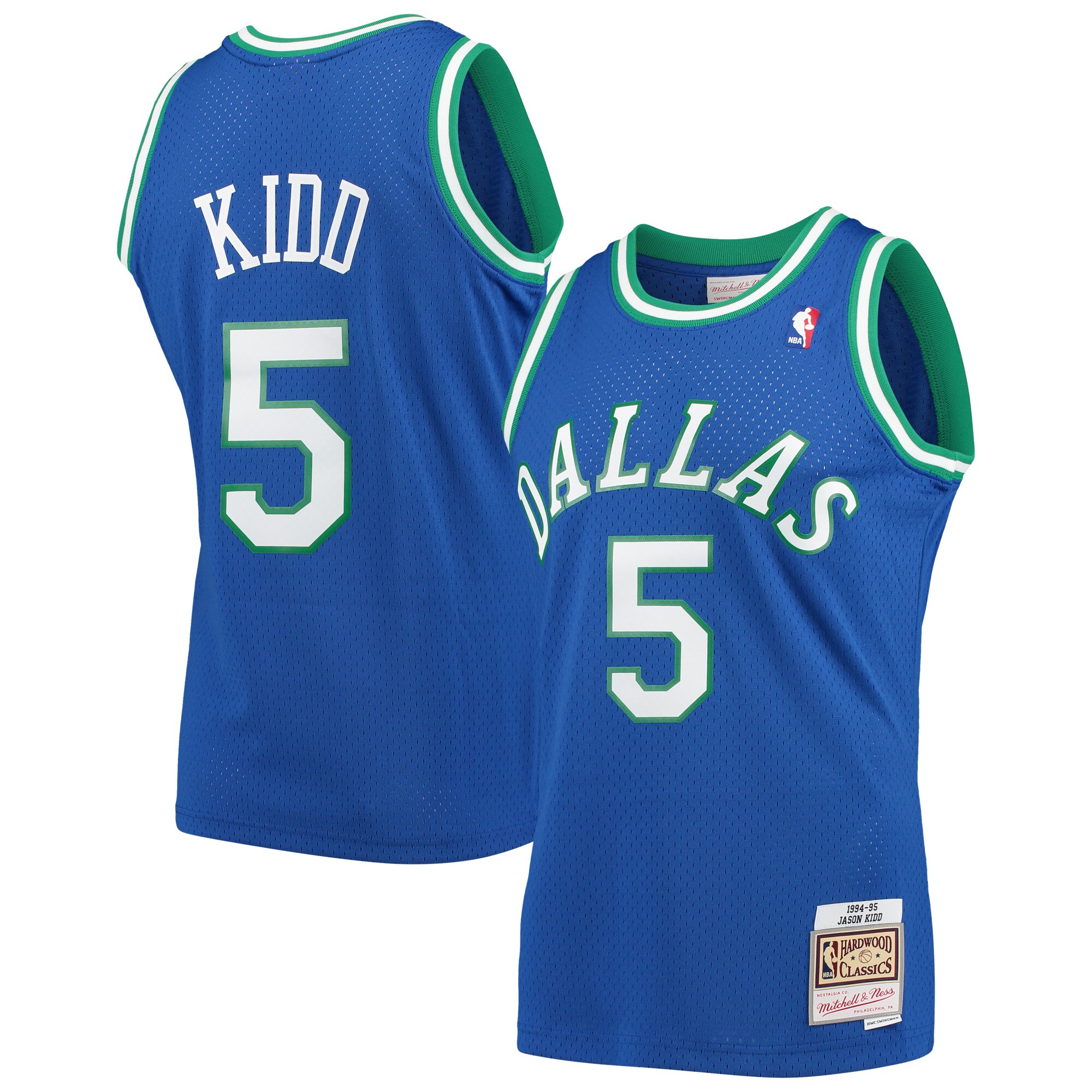Jason Kidd Dallas Mavericks Mitchell & Ness 1994-95 Hardwood Classics Swingman Player Jersey - Blue