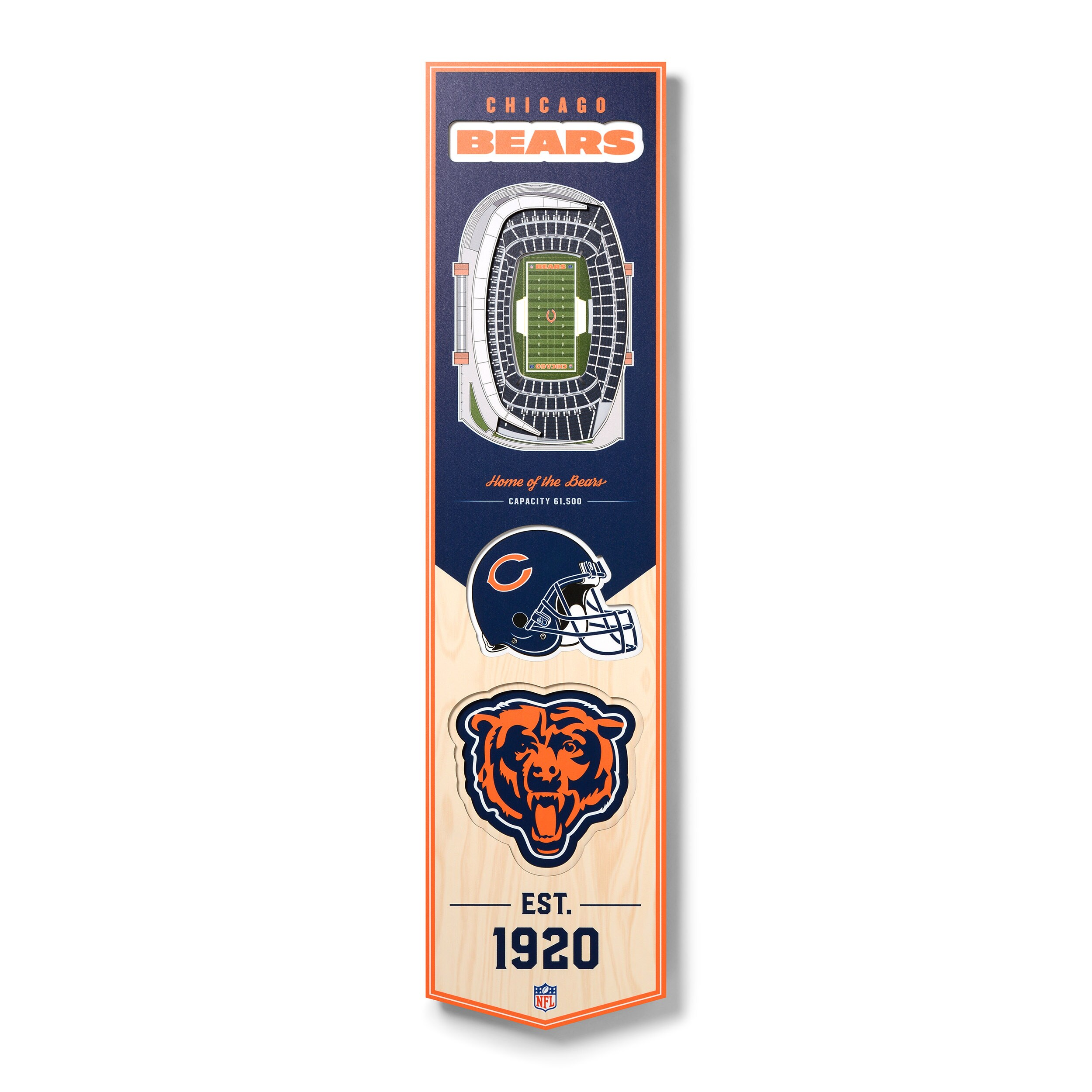 Chicago Bears 8'' x 32'' 3D StadiumView Banner