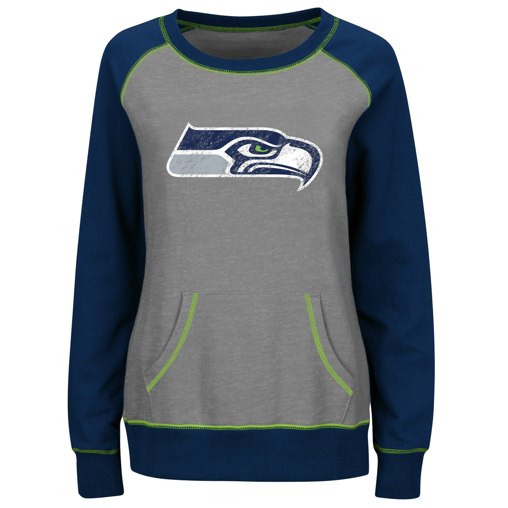 Seattle Seahawks Majestic Women's Overtime Queen Crew Neck Sweatshirt - Gray/College Navy