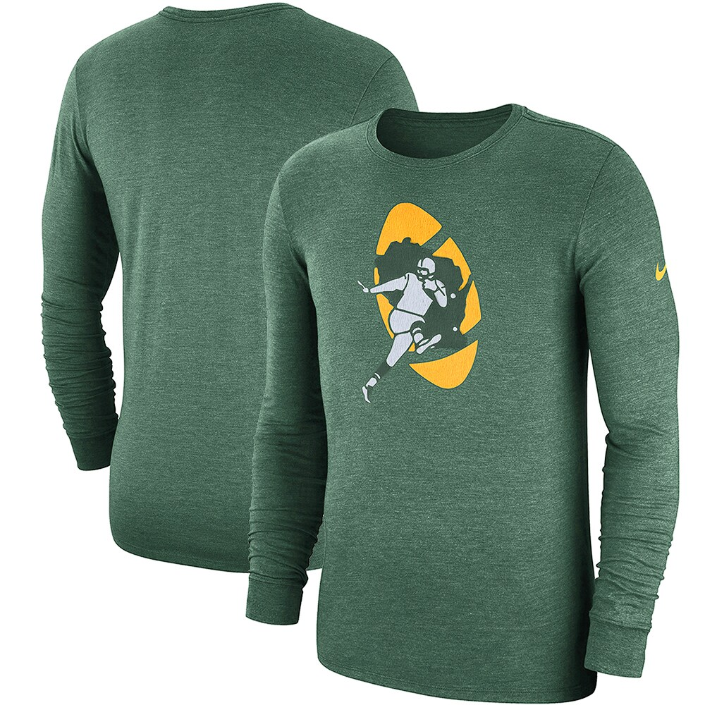 Green Bay Packers Nike Fan Gear Crackle Historic Tri-Blend Long Sleeve T-Shirt - Green