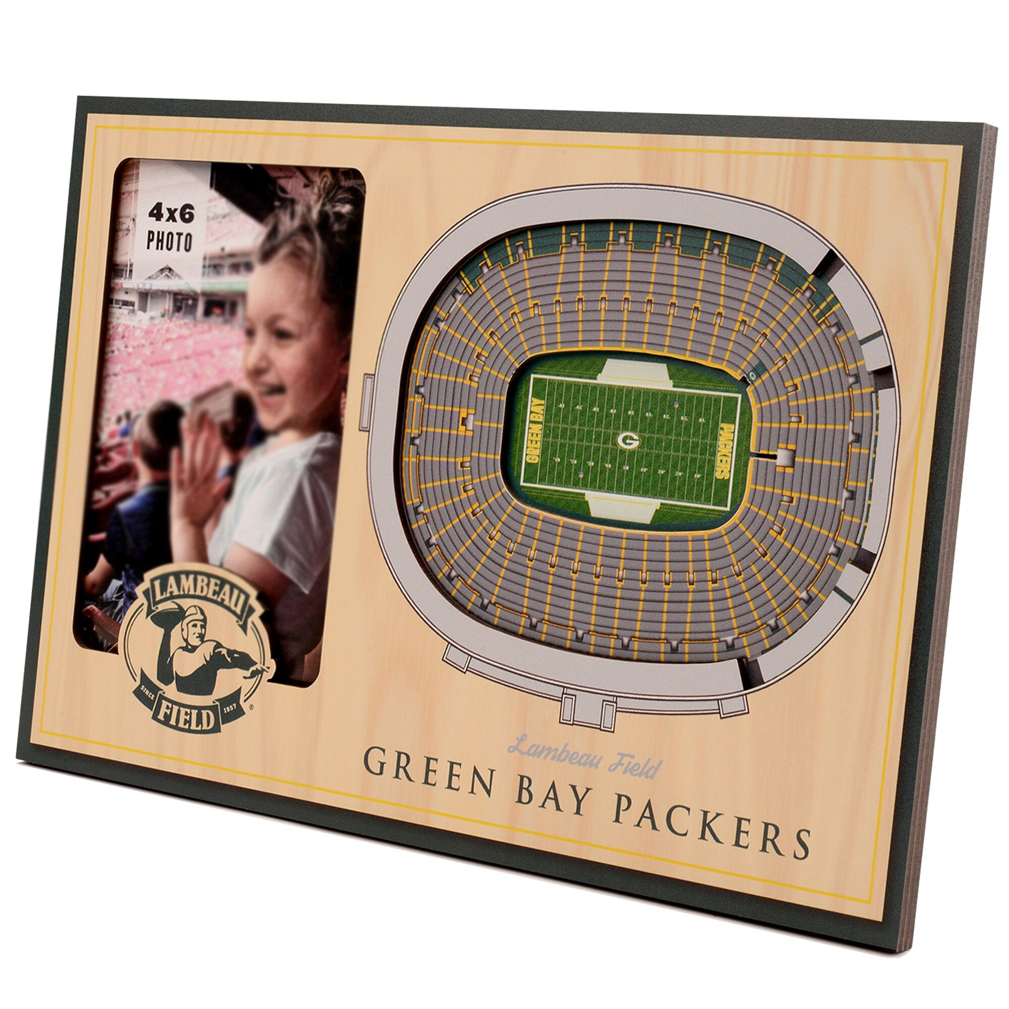 Green Bay Packers 3D StadiumViews Picture Frame - Brown