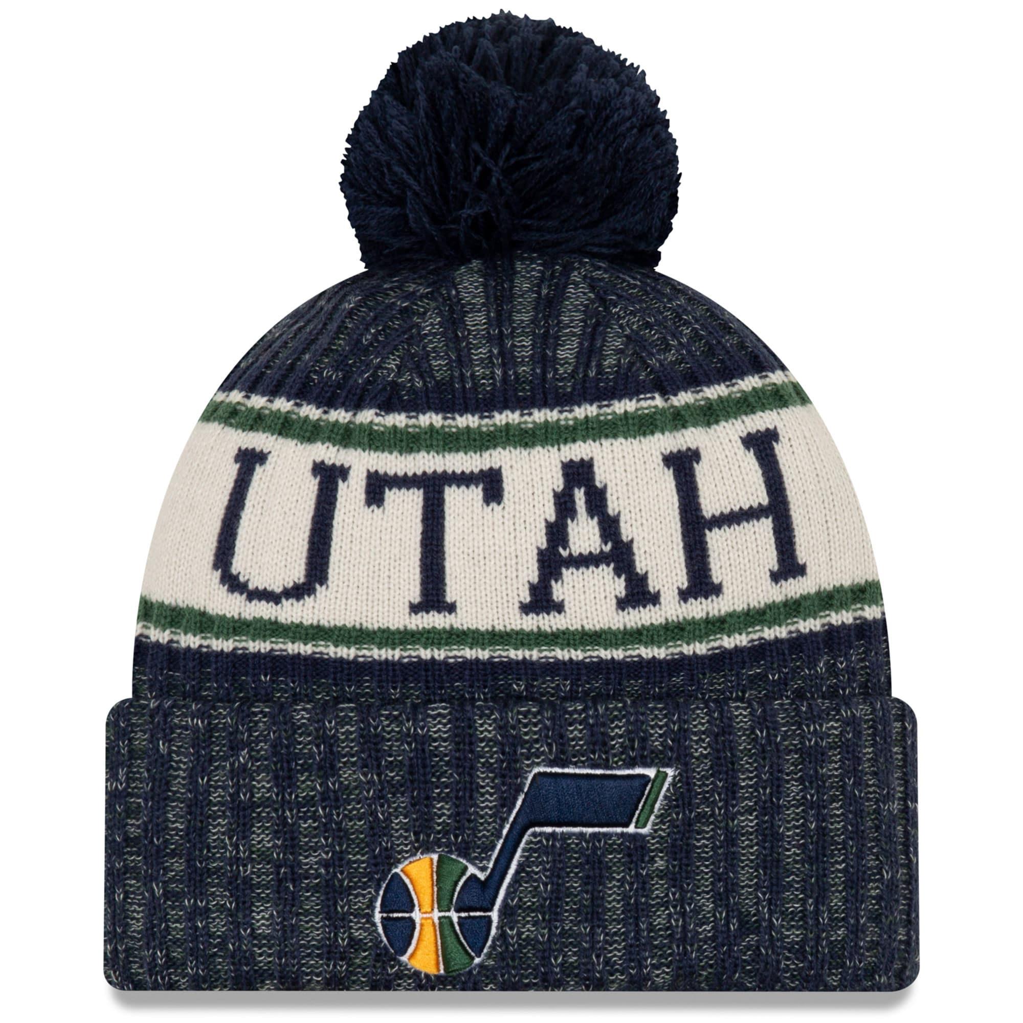 Utah Jazz New Era Sport Cuffed Knit Hat with Pom - Navy